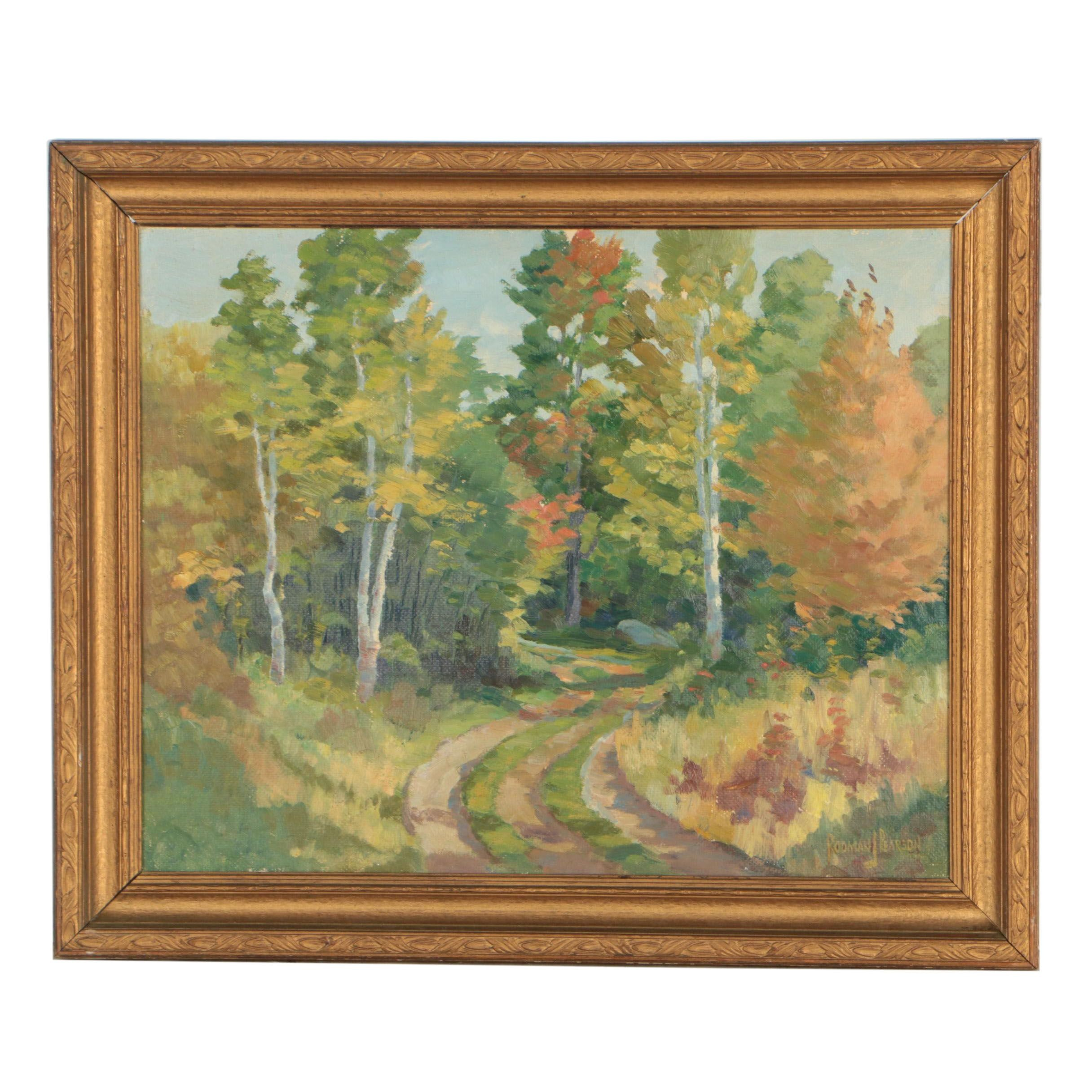 "Rodman J. Peterson 1938 Landscape Oil Painting ""Old Mood Road"""