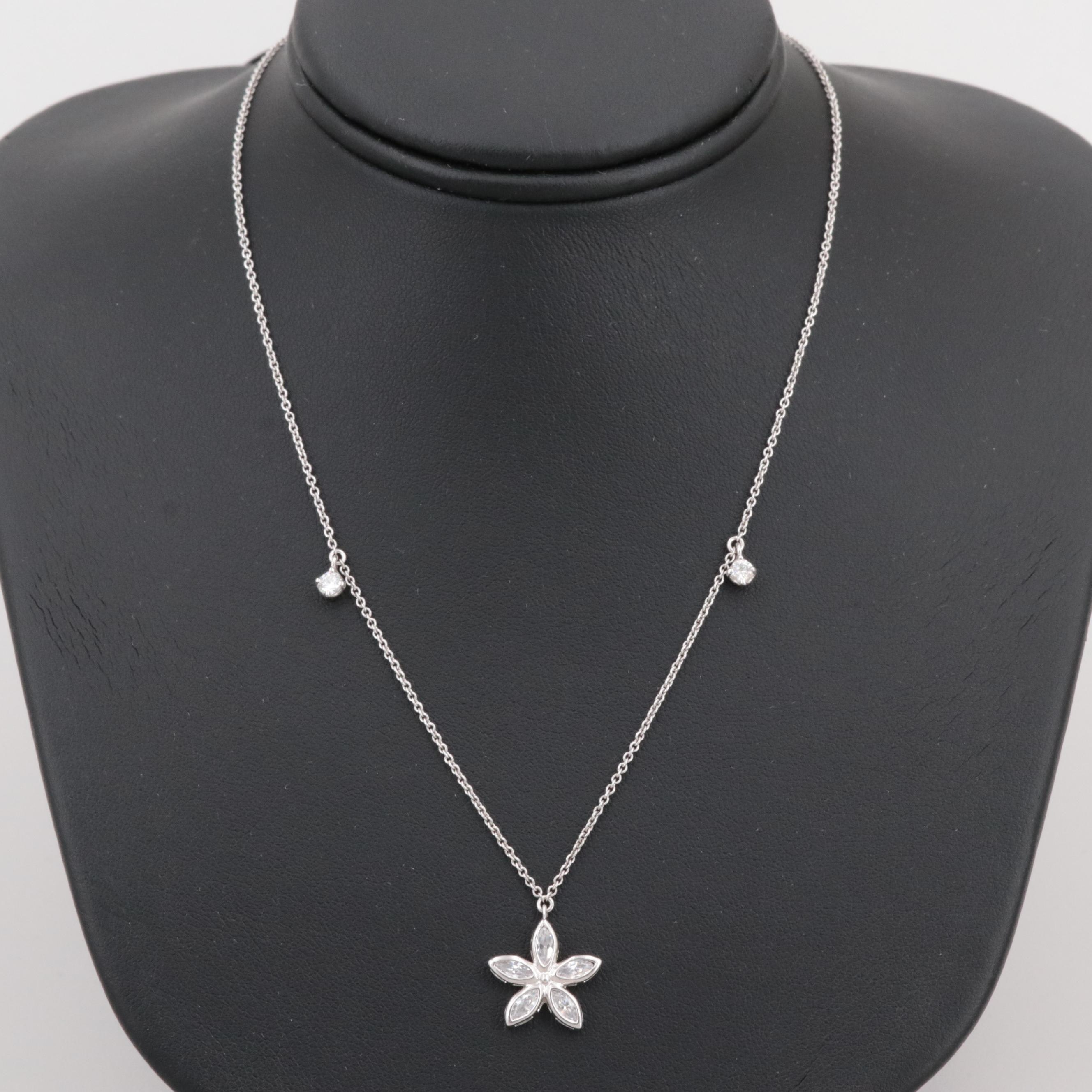 Sterling Silver Cubic Zirconia Flower Pendant with Adjustable Necklace
