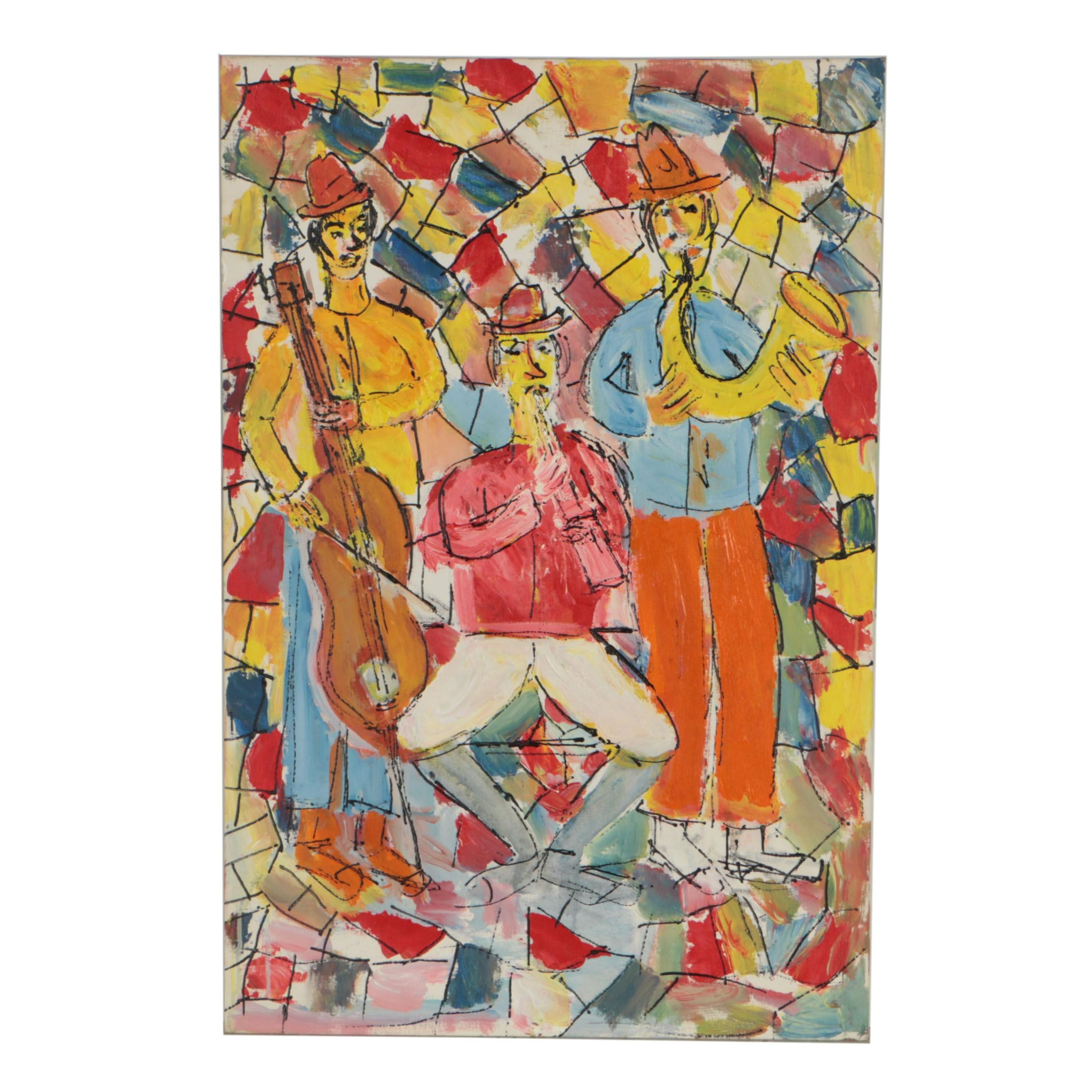 Charles Tullio Abstract Acrylic Painting of Musicians