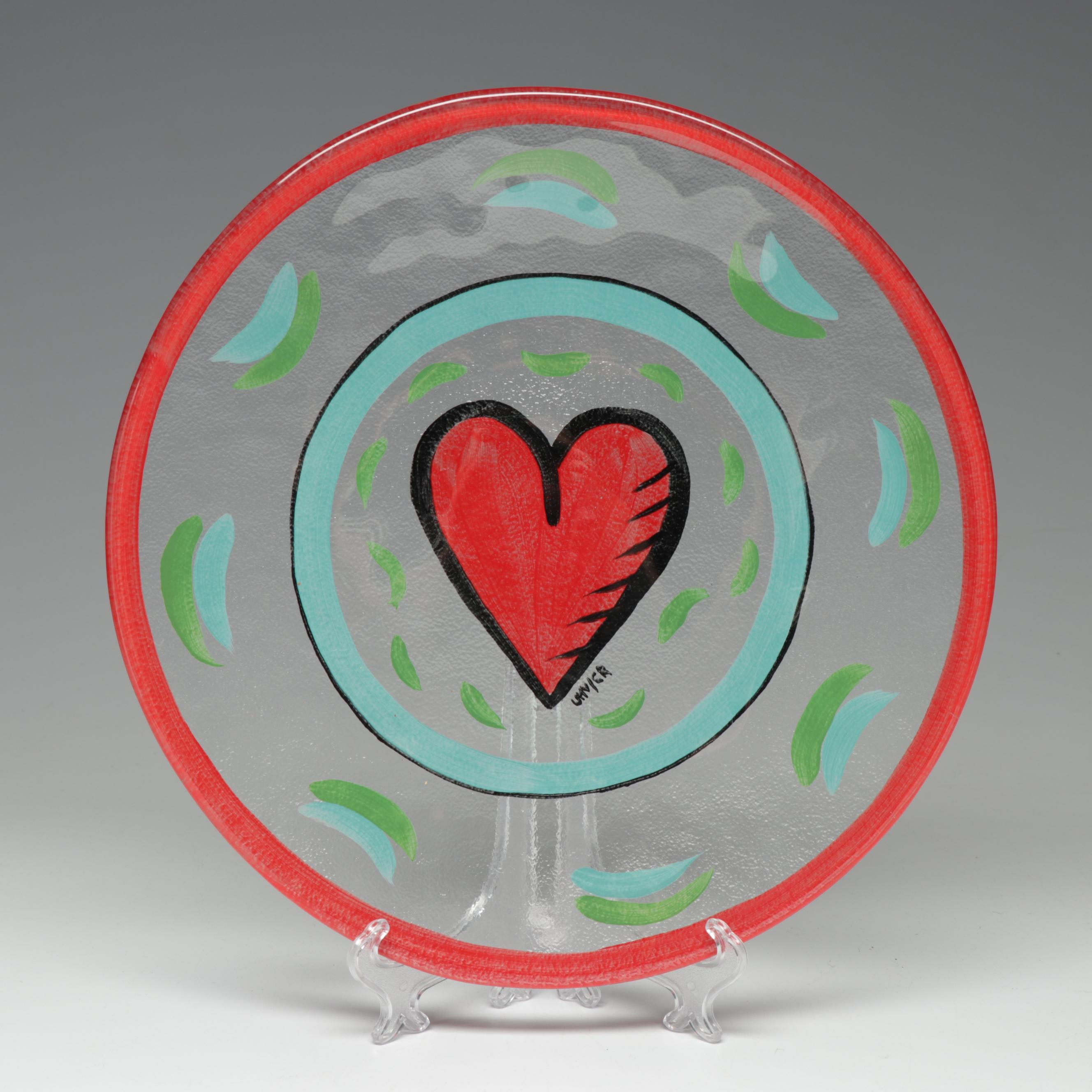 Kosta Boda Painted Heart Glass Plate by Ulrica Hydman-Vallien