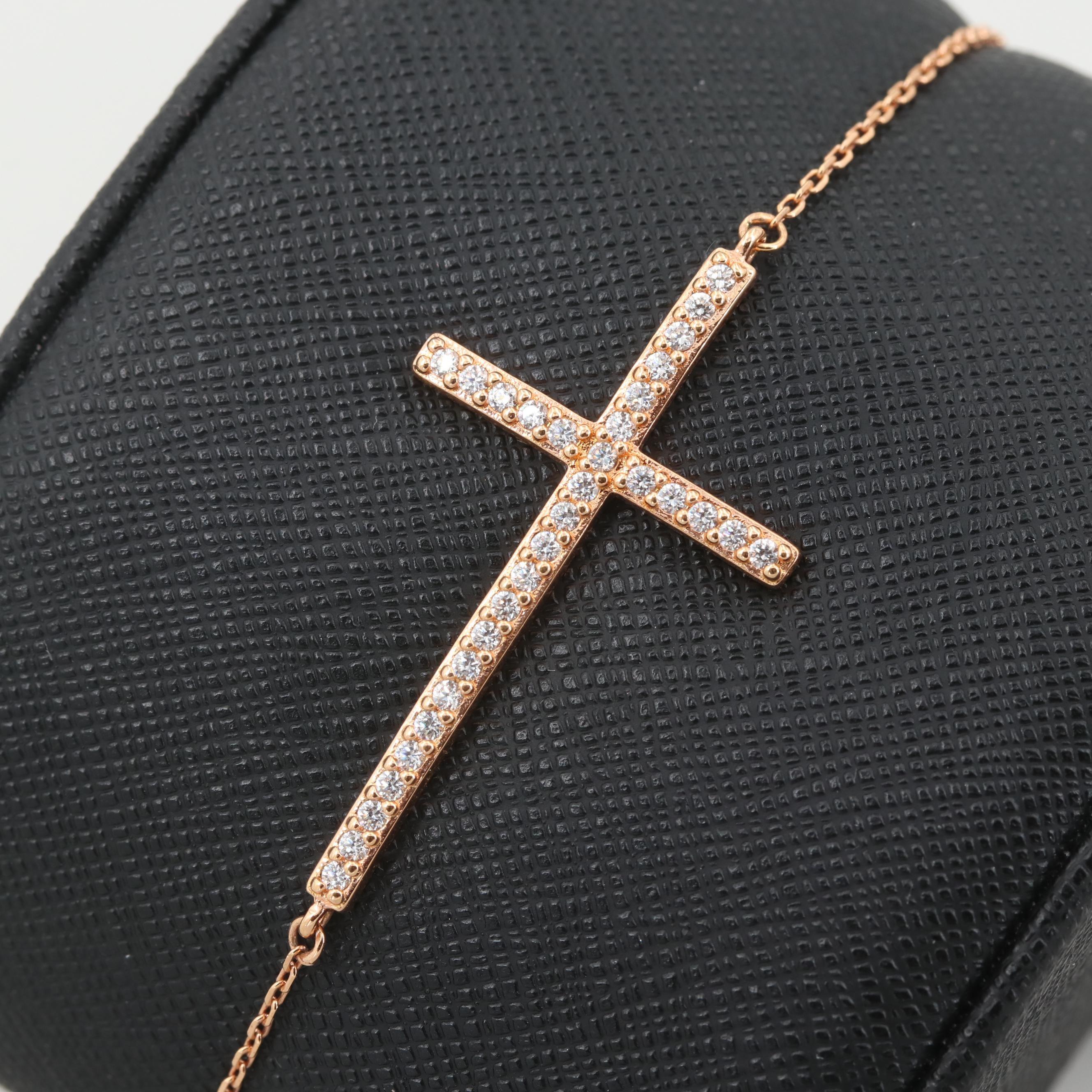Rose Wash on Sterling Silver Cubic Zirconia Cross Split Chain Bracelet