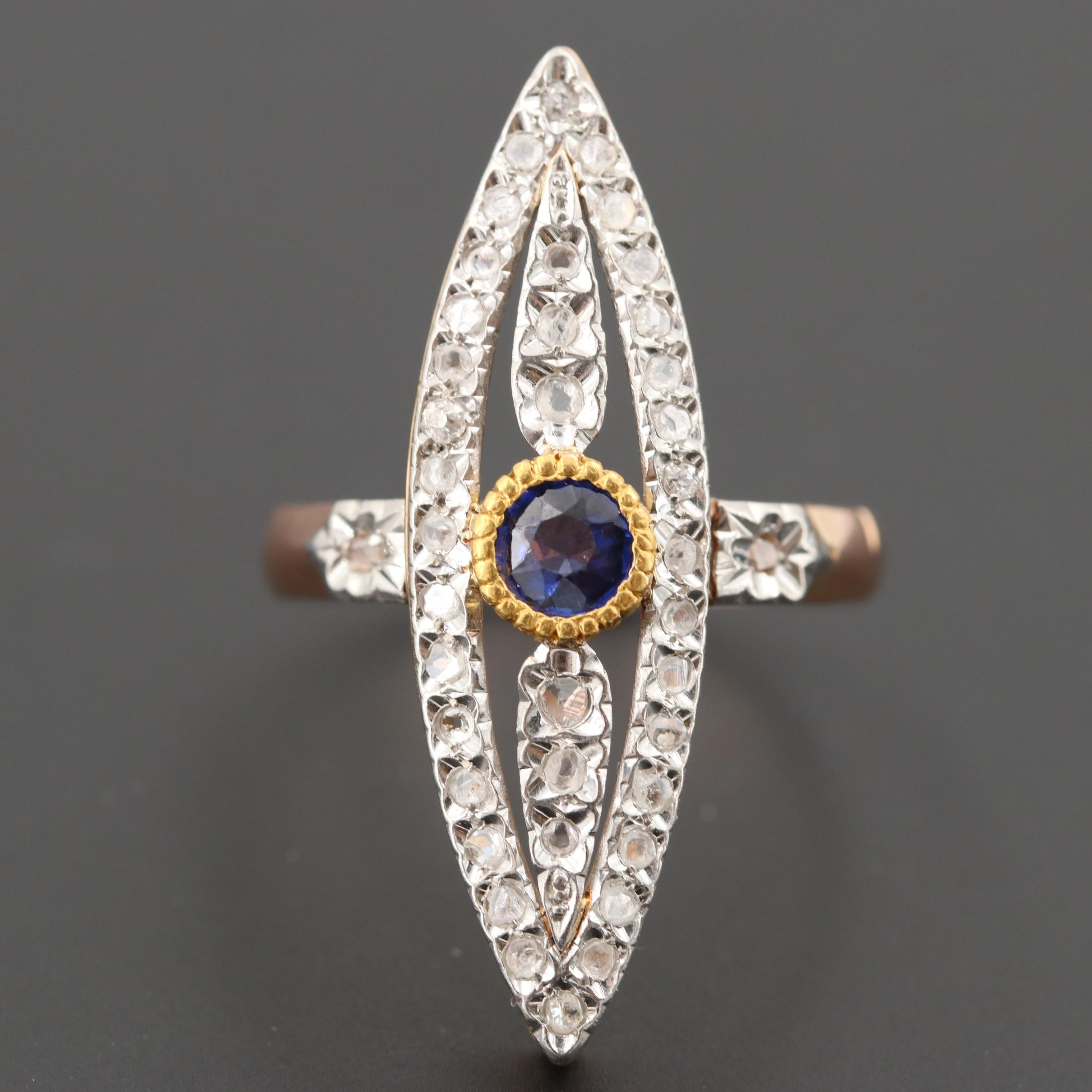 Early 1900s 18K Rose Gold and Platinum Garnet Doublet and Diamond Ring