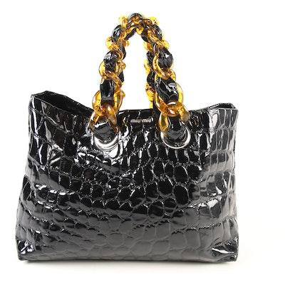 44cf23c5854 Miu Miu Cire Tote in Crocodile Embossed Black Leather and Faux Amber Strap