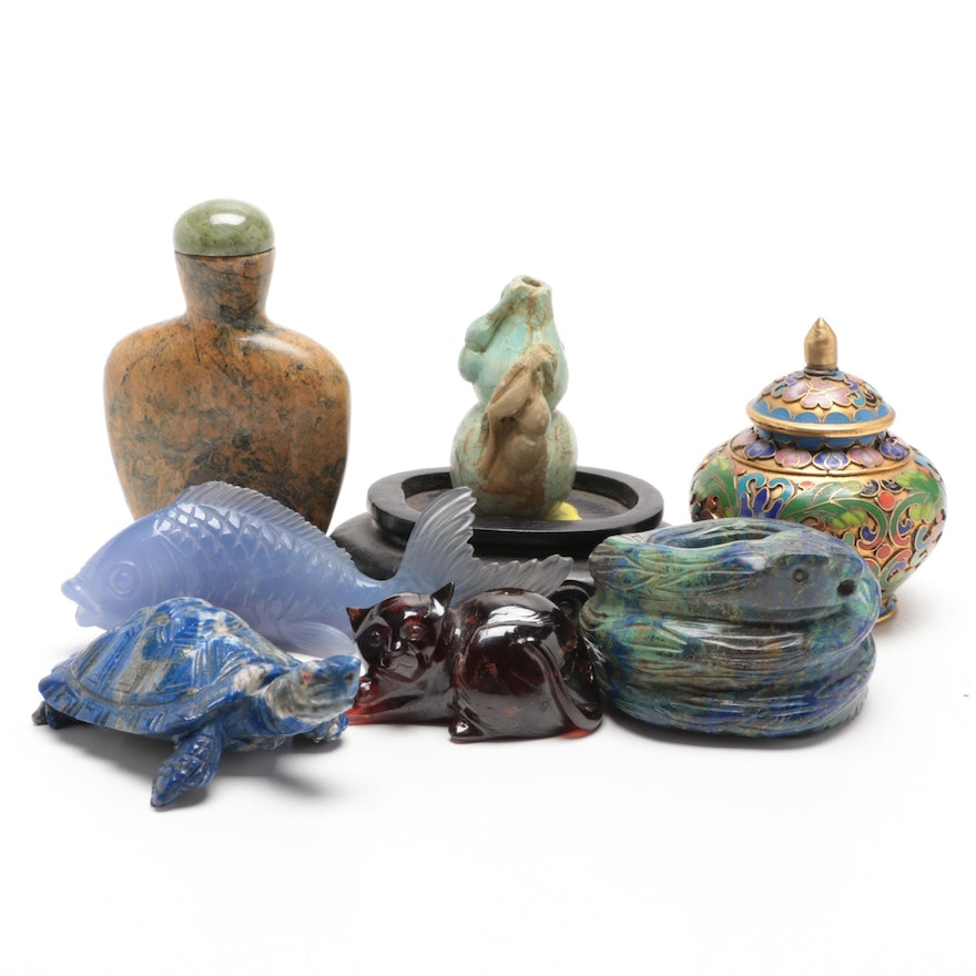 Garnet, Jasper and Lapis Lazuli Carved Figurines and Other Minerals