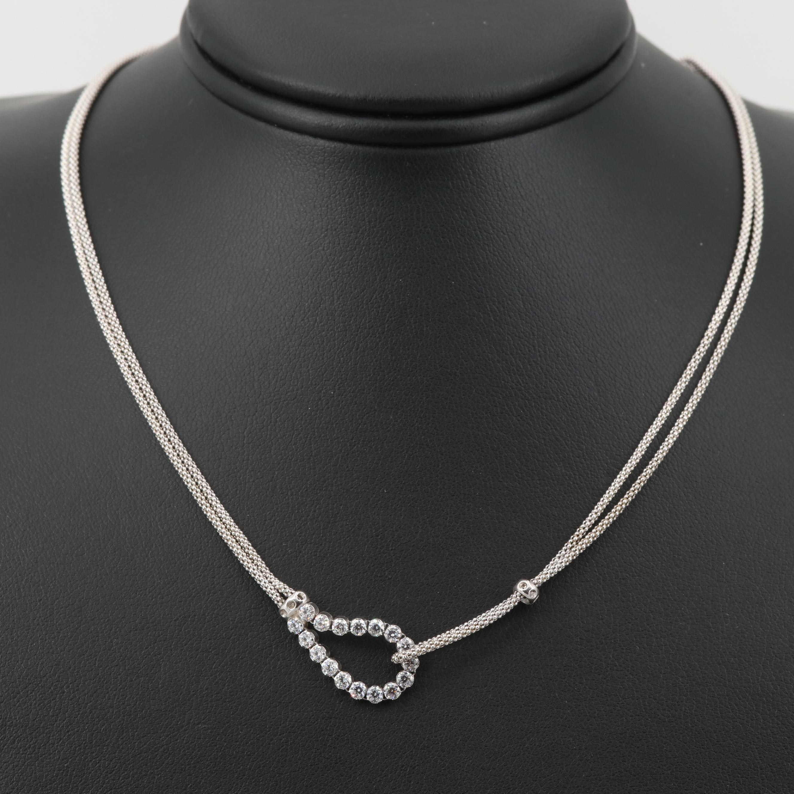 Sterling Silver Cubic Zirconia Interlocking Popcorn Chain Necklace