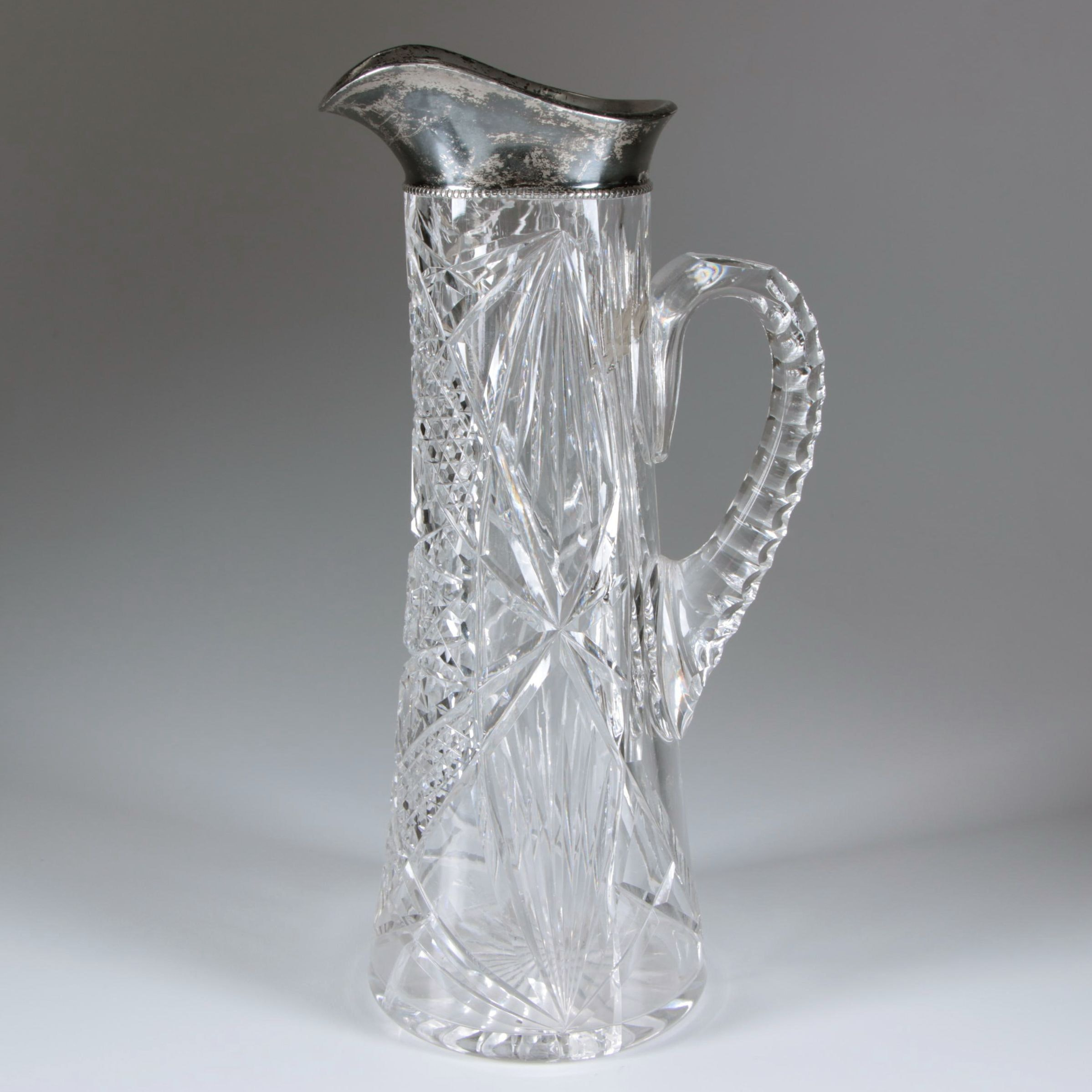 American Brilliant Cut Glass Pitcher with Gorham Sterling Lip, Late 19th Century