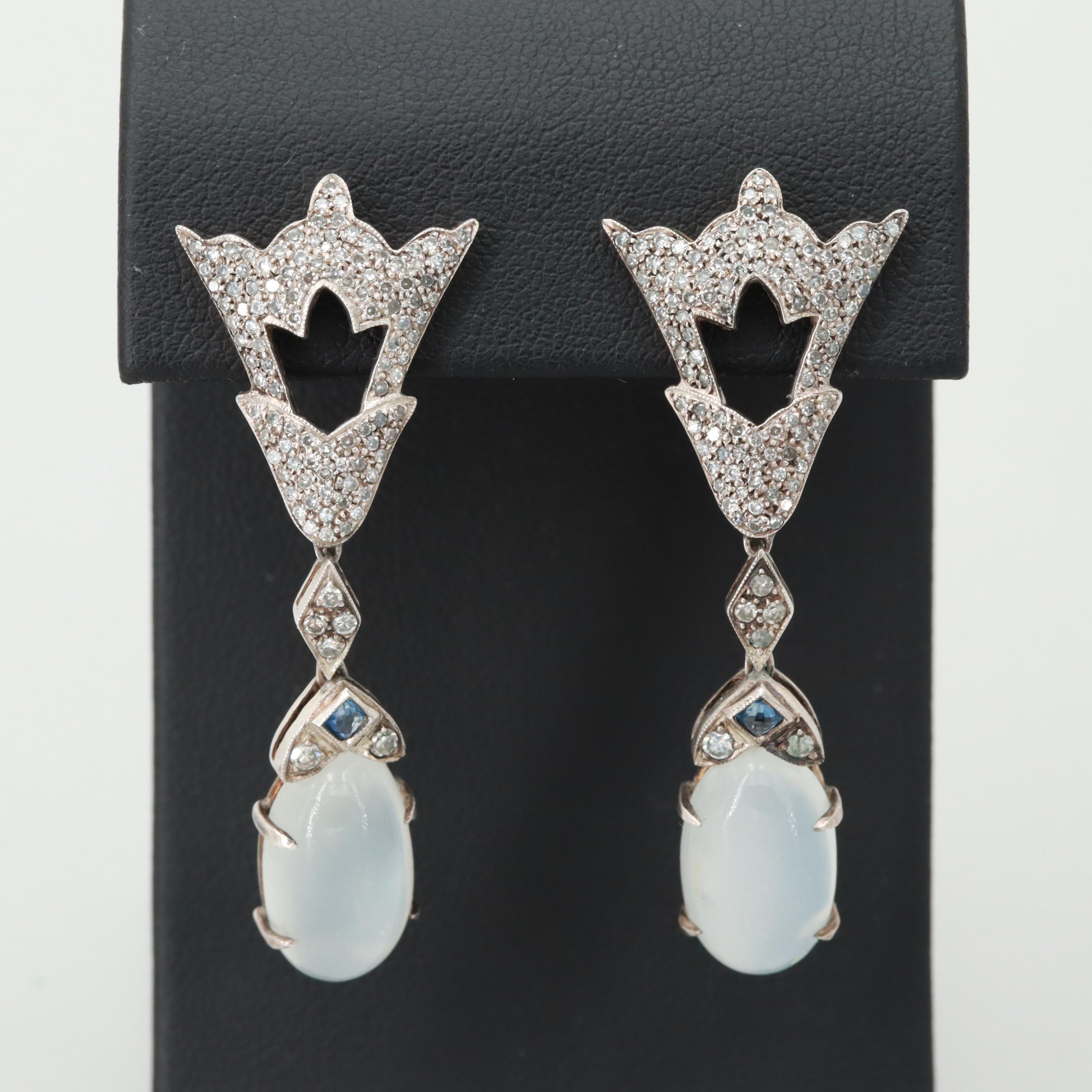 Art Deco Sterling Silver Moonstone, Diamond, and Sapphire Dangle Earrings