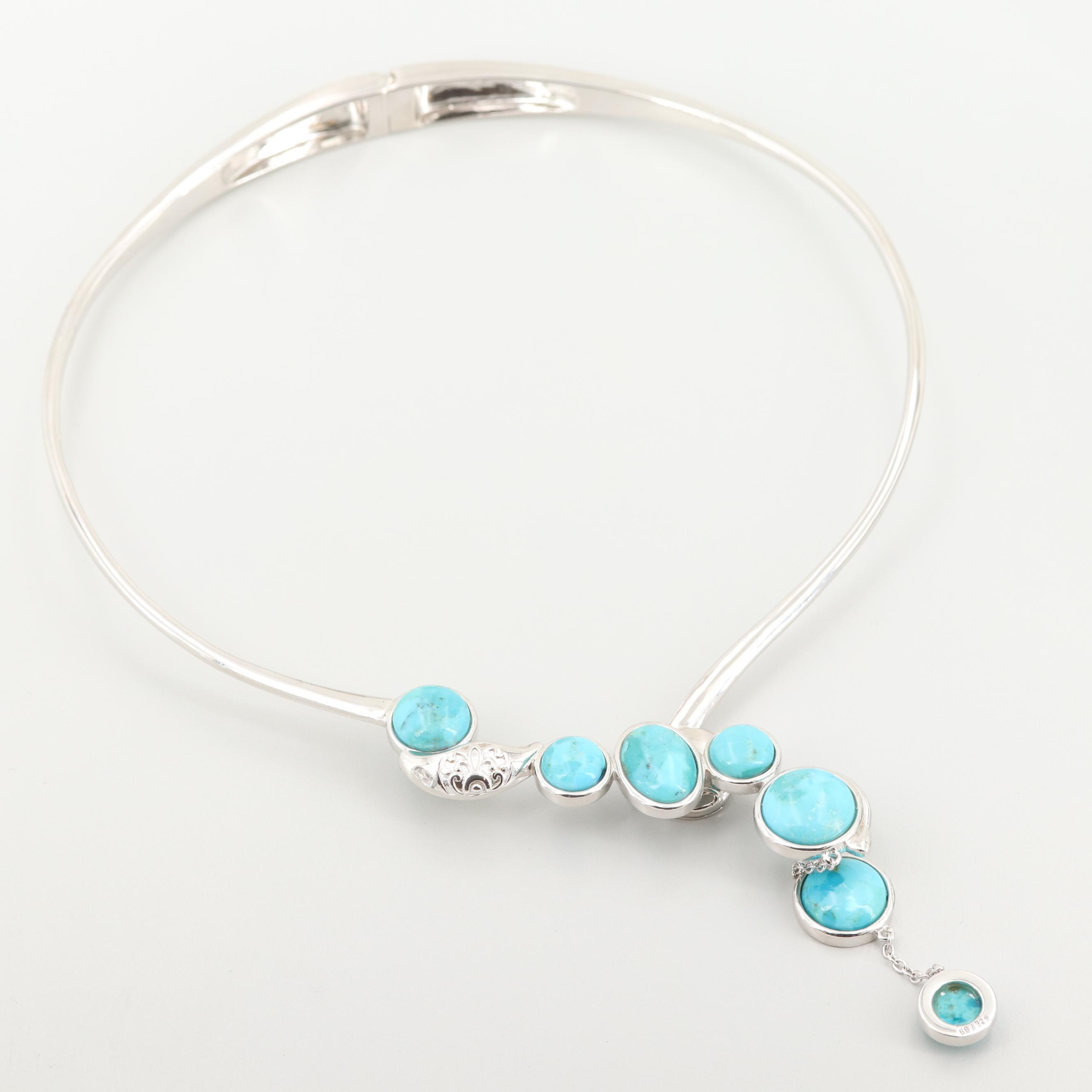 Sterling Silver Reconstructed Turquoise Collar Necklace