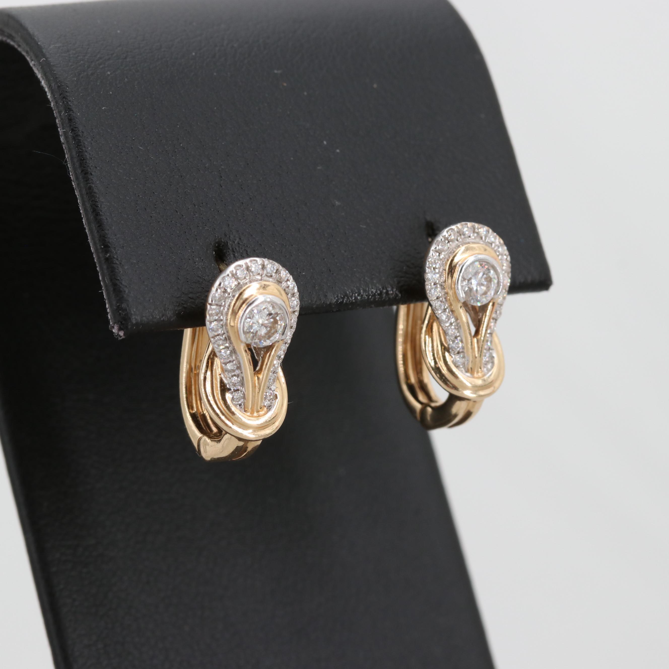 14K Yellow Gold Diamond Love Knot Earrings