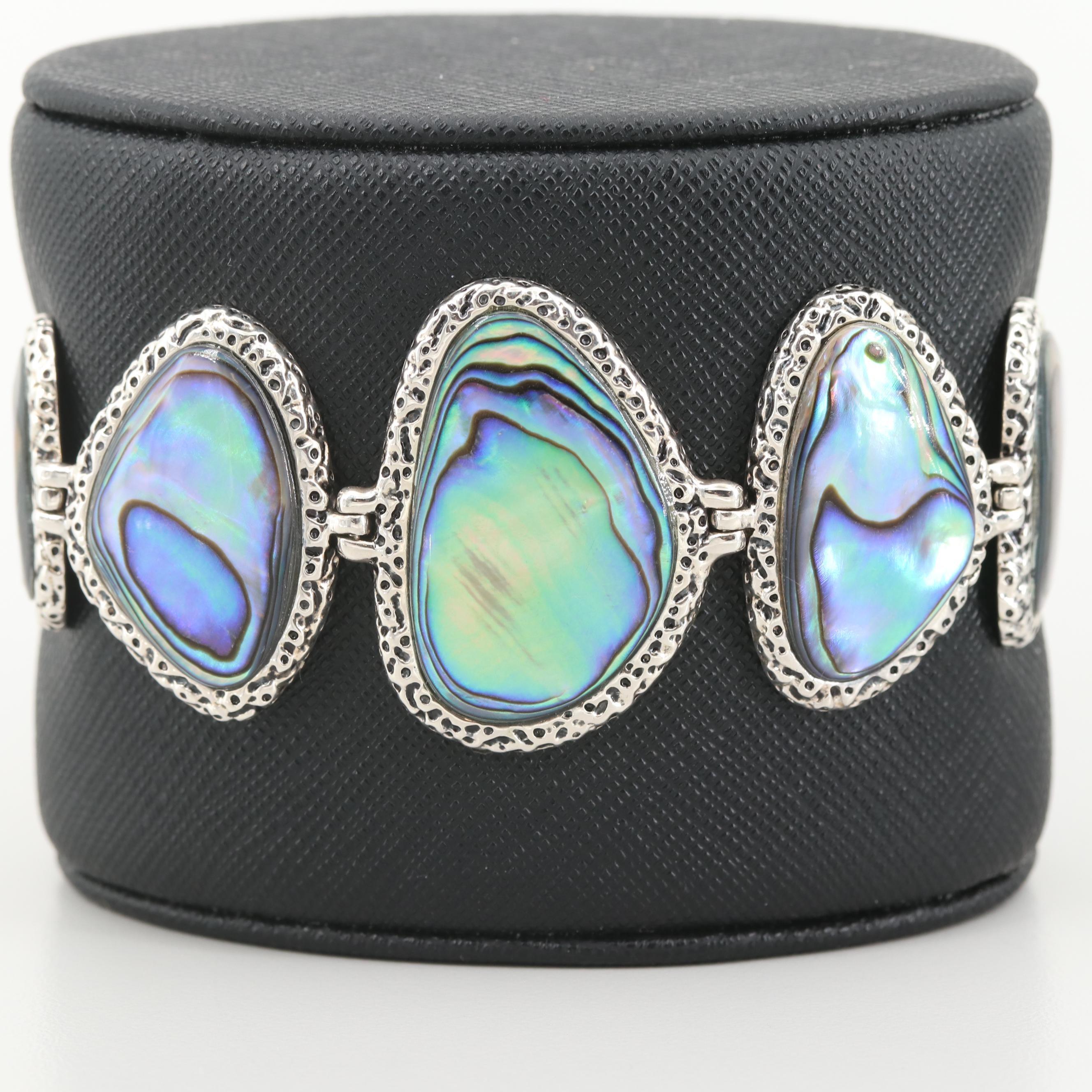 Sterling Silver Abalone Doublet Link Bracelet