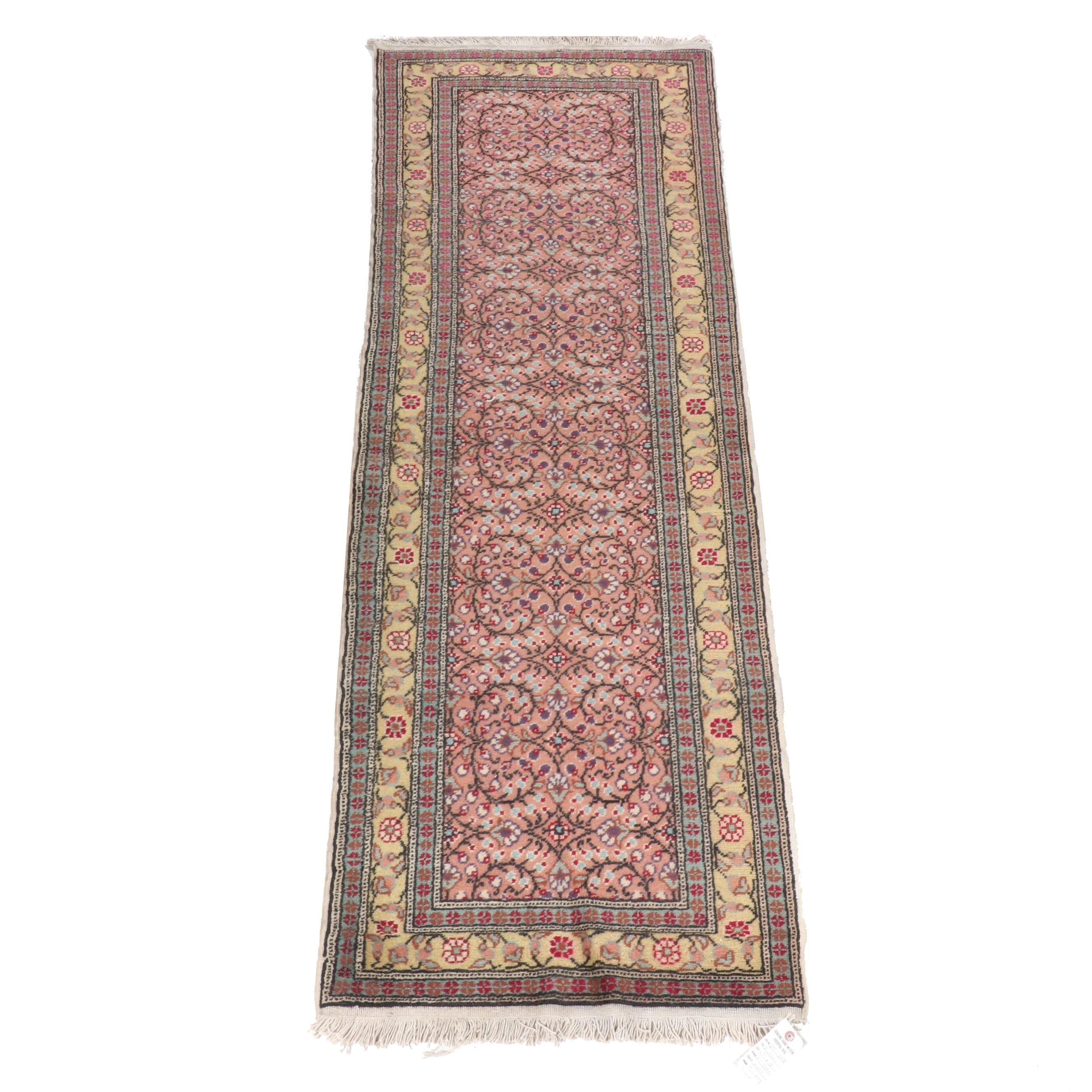 Hand-Knotted Turkish Oushak Wool Carpet Runner
