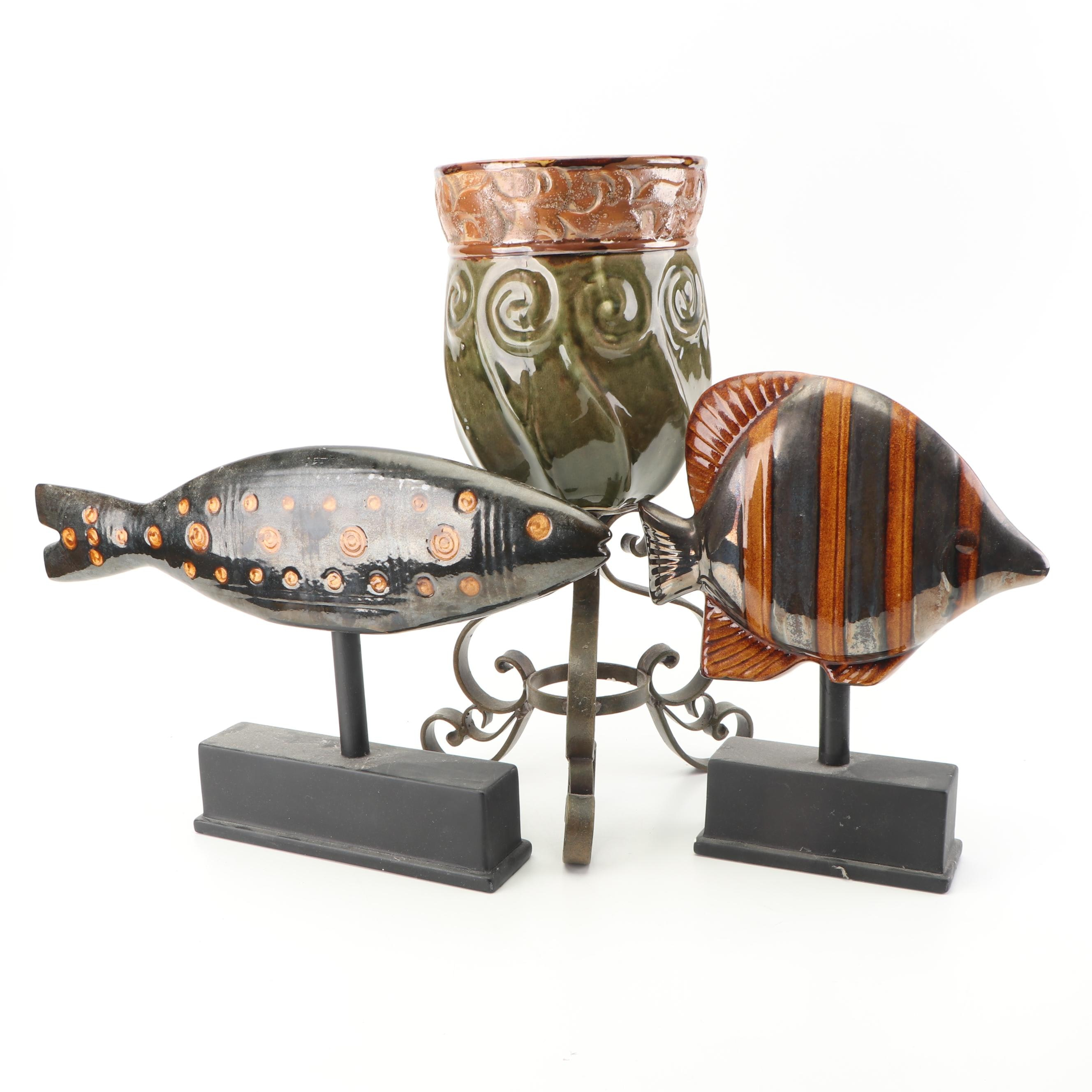 Stoneware Planter on Stand with Fish Decor