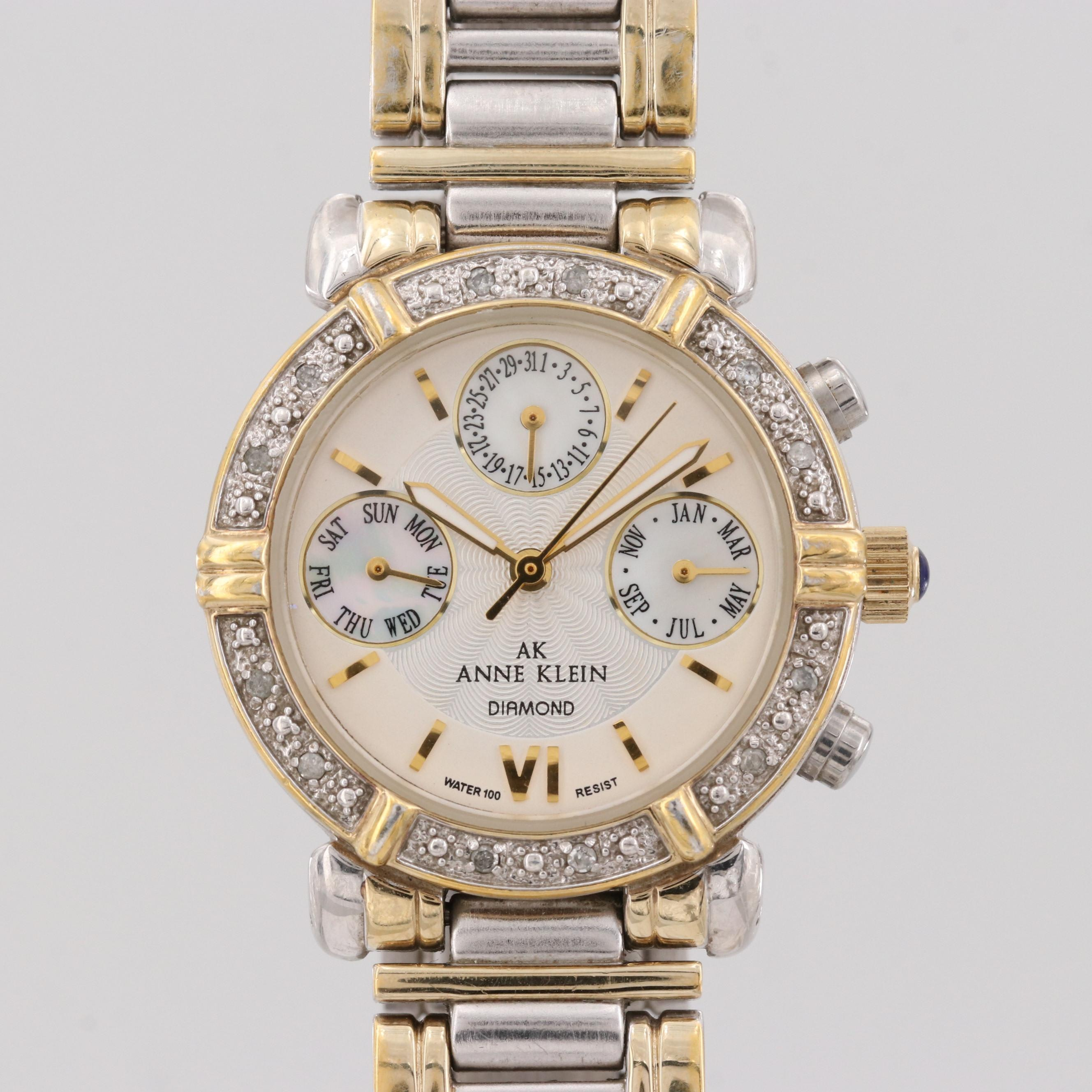 Anne Klein Two-Tone Wristwatch With Diamond Bezel and Mother of Pearl Subdials