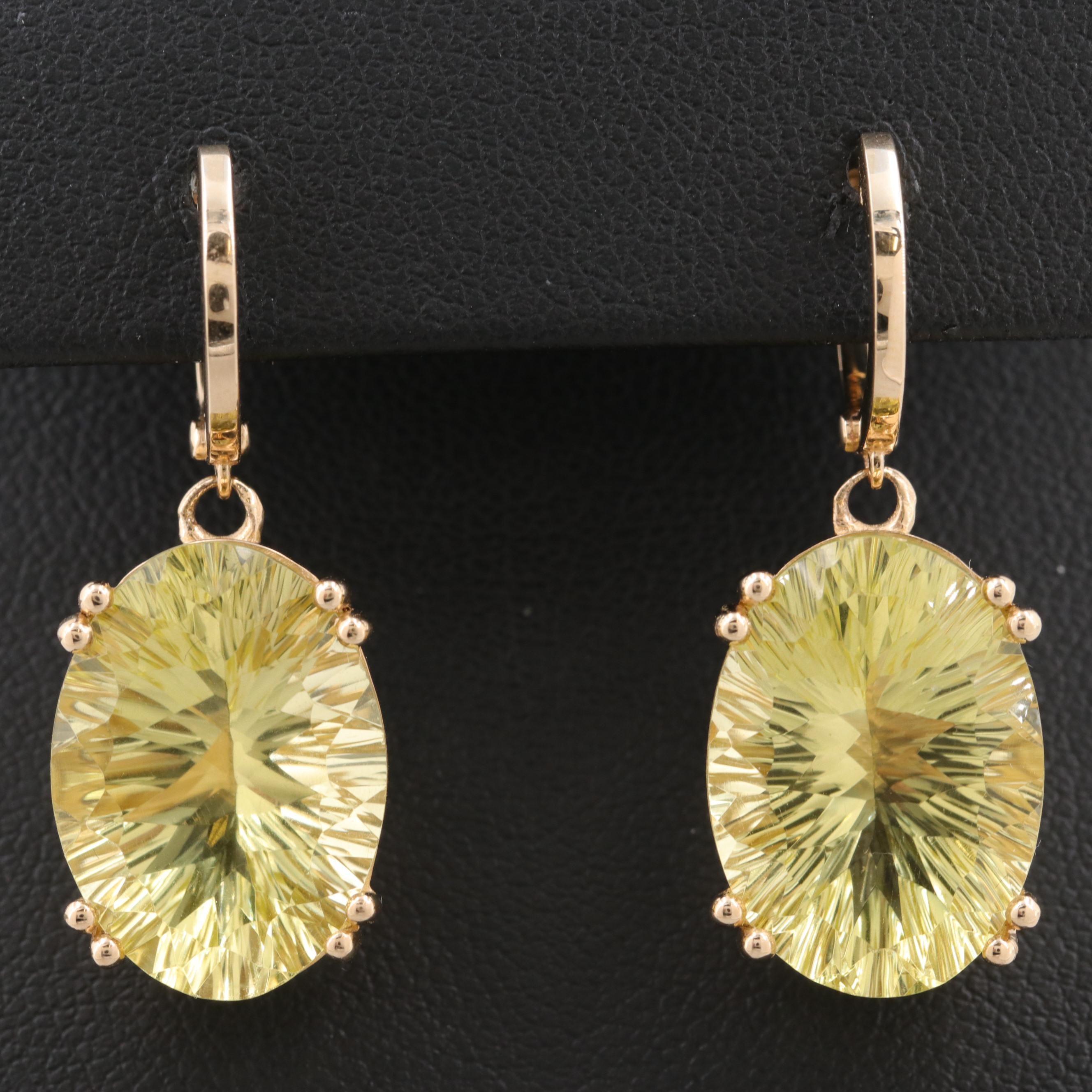 14K Yellow Gold 18.88 CTW Citrine Dangle Earrings