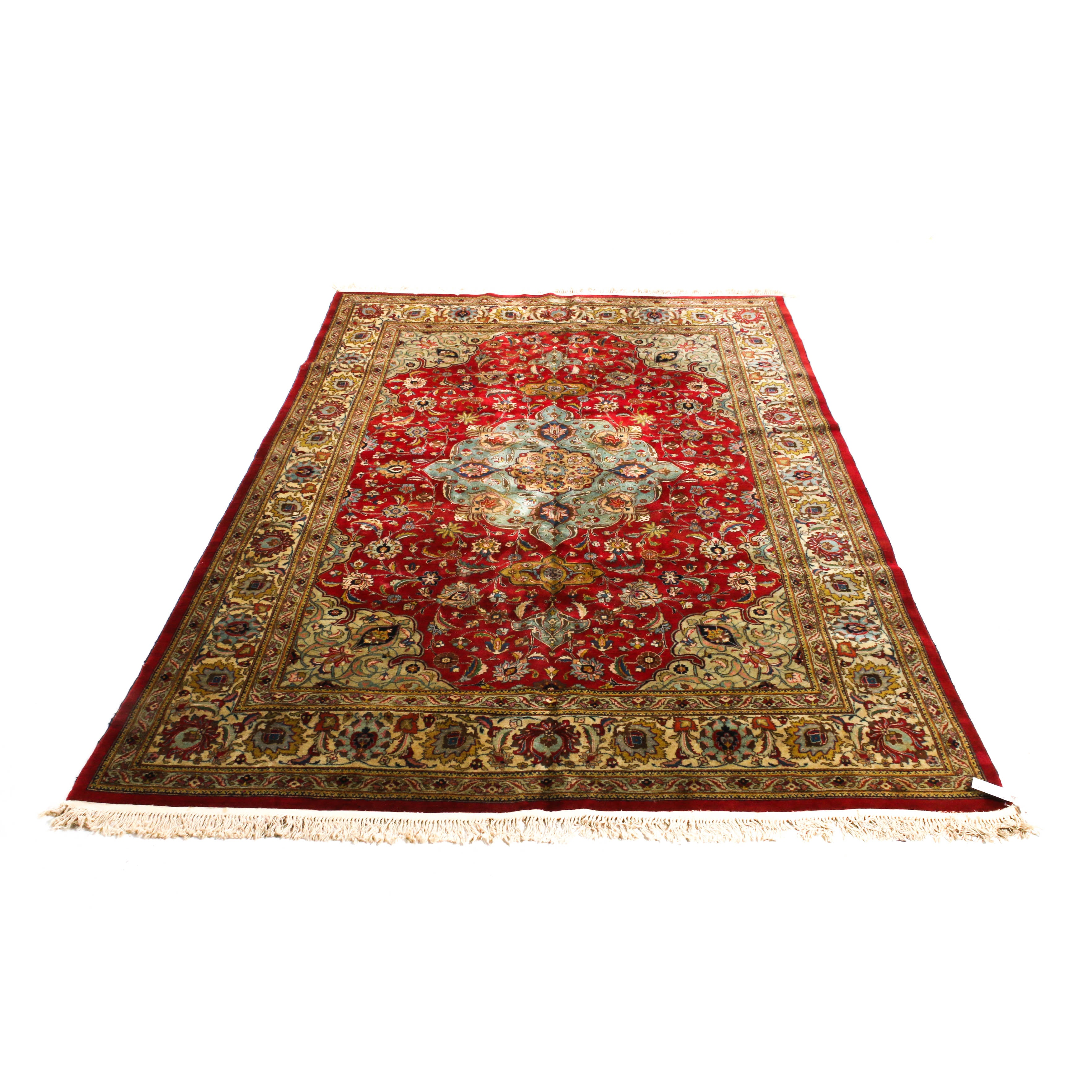 8'5 x 12'2 Hand-Knotted Persian Tabriz Room Size Wool Rug, Circa 1960