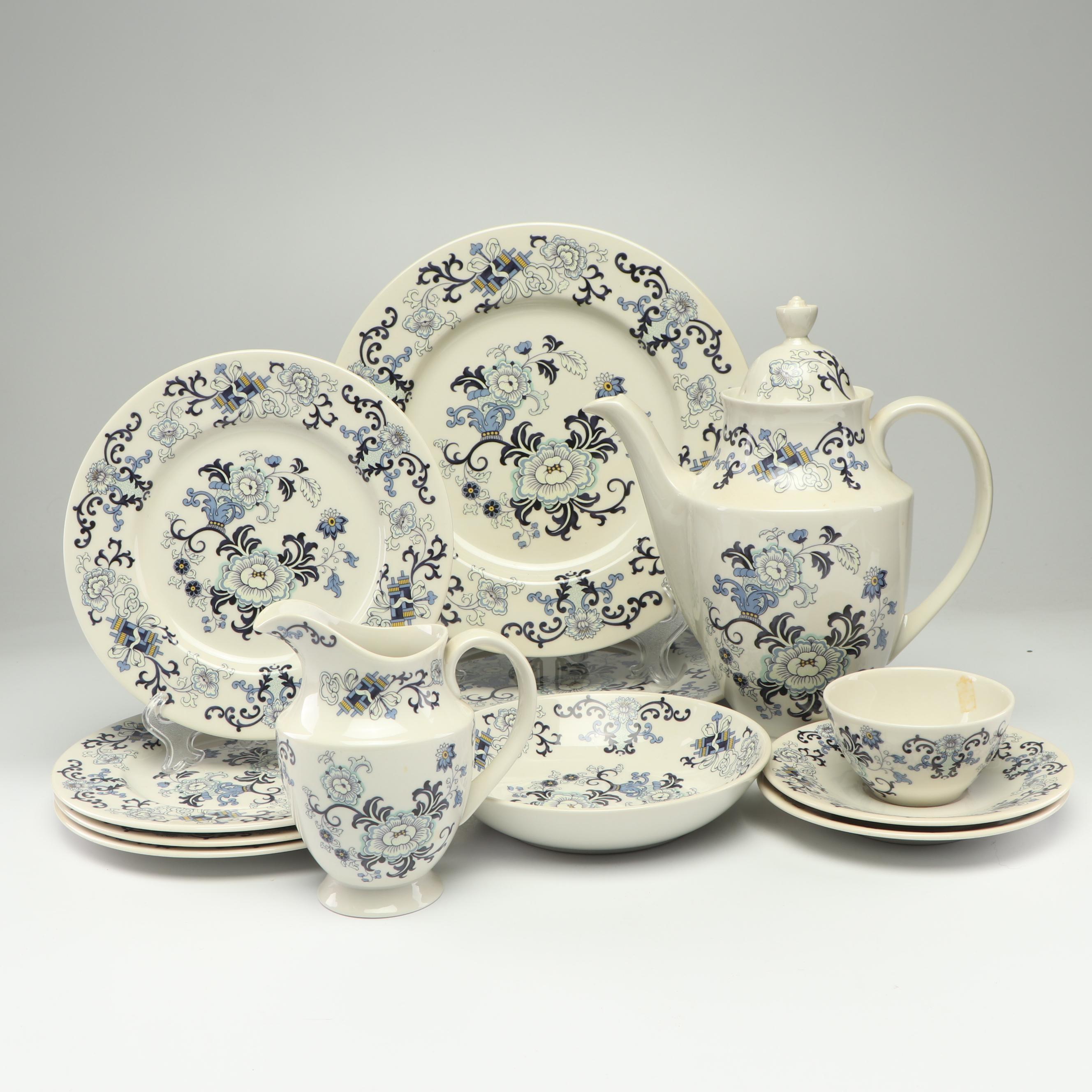 "Royal Doulton ""Nankin"" Porcelain Coffee Pot, Creamer, and Tableware"
