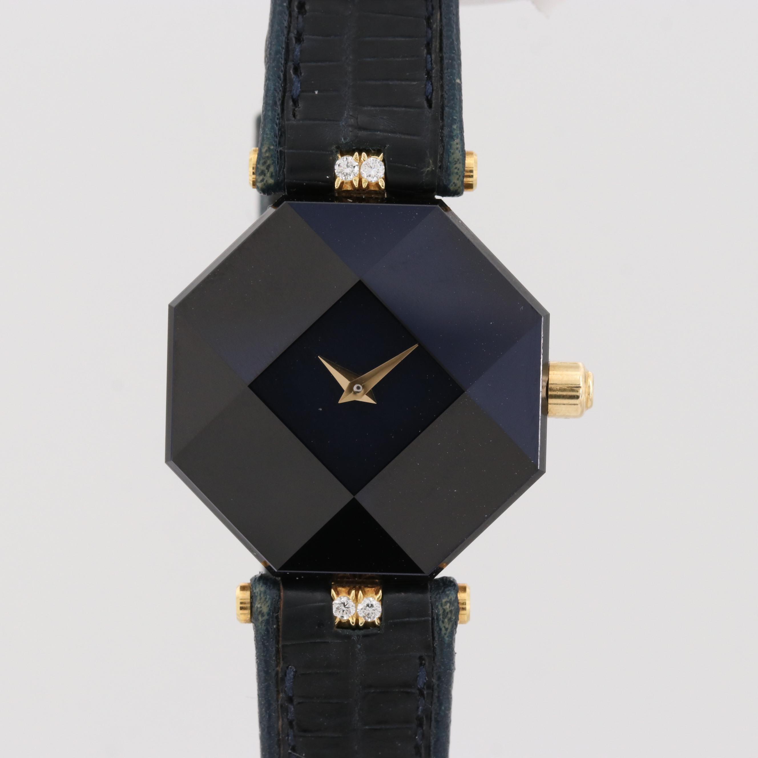 Vintage H. Stern Safir 18K Yellow Gold Diamond Quartz Wristwatch