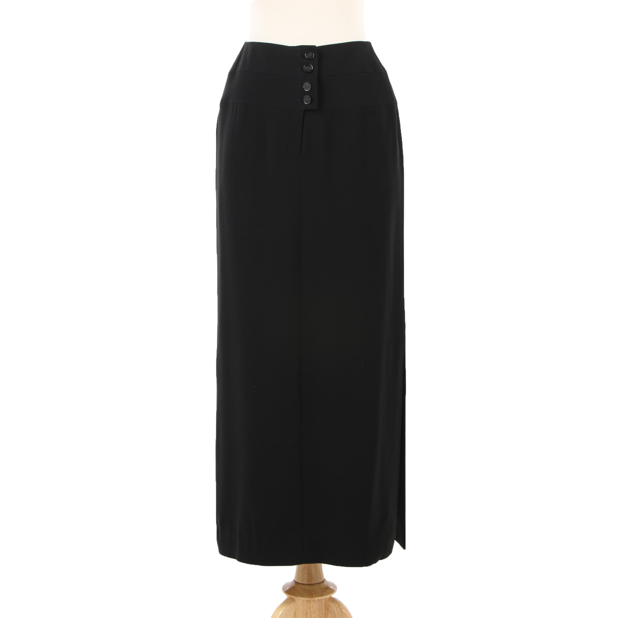 Chanel Boutique Black Maxi Skirt with Side Slit