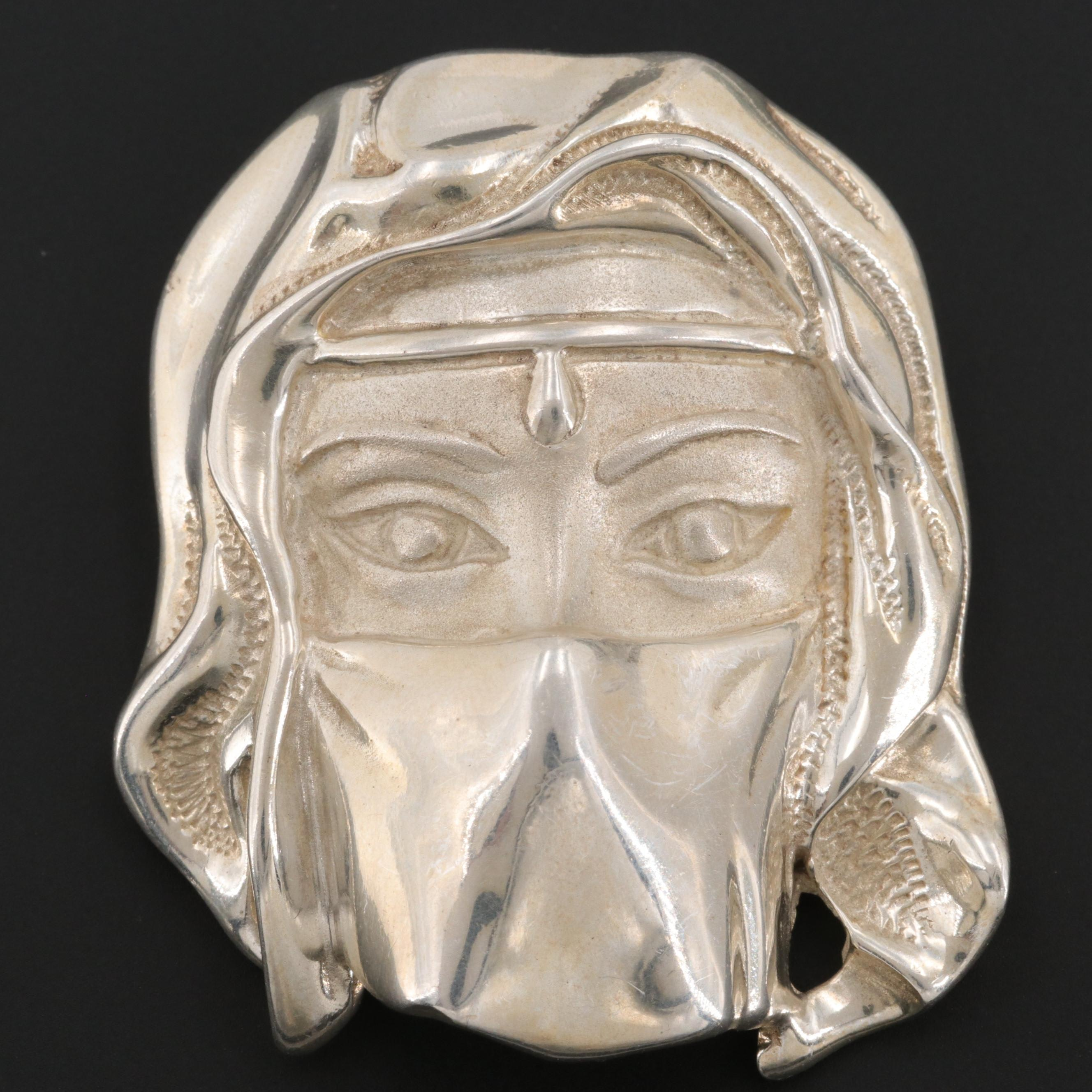 Taxco Sterling Silver Masked Face Brooch