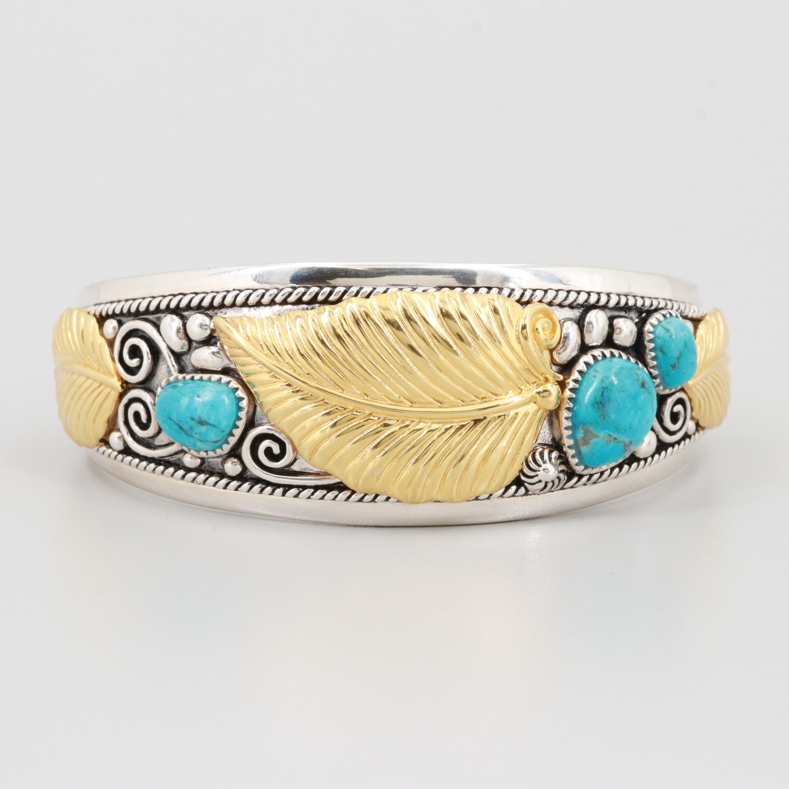Sterling Silver Turquoise Cuff Bracelet with Gold Tone Accents