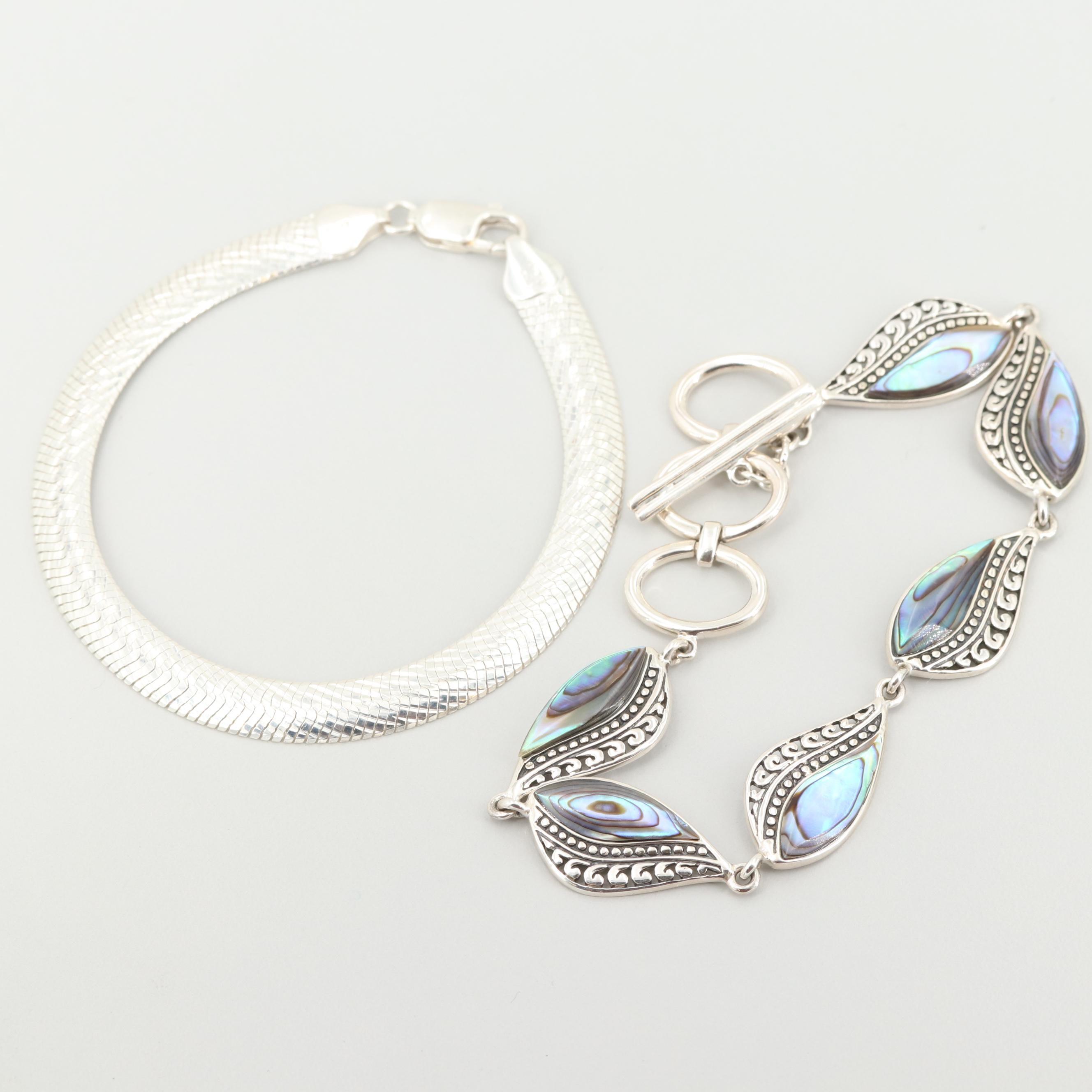 Sterling Silver Abalone Link Bracelet and Mesh Bracelet