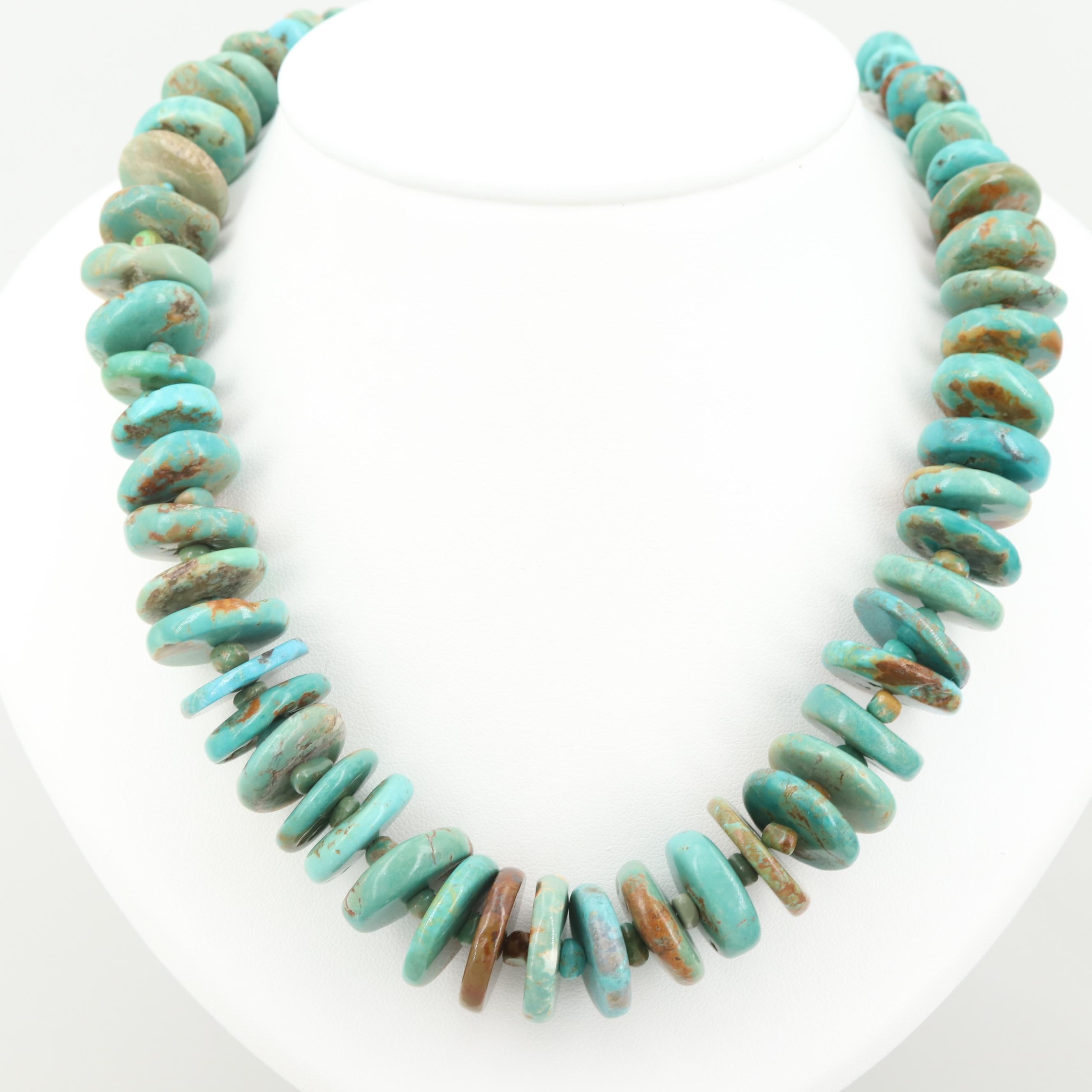 Turquoise Bead Graduating Necklace with Sterling Silver