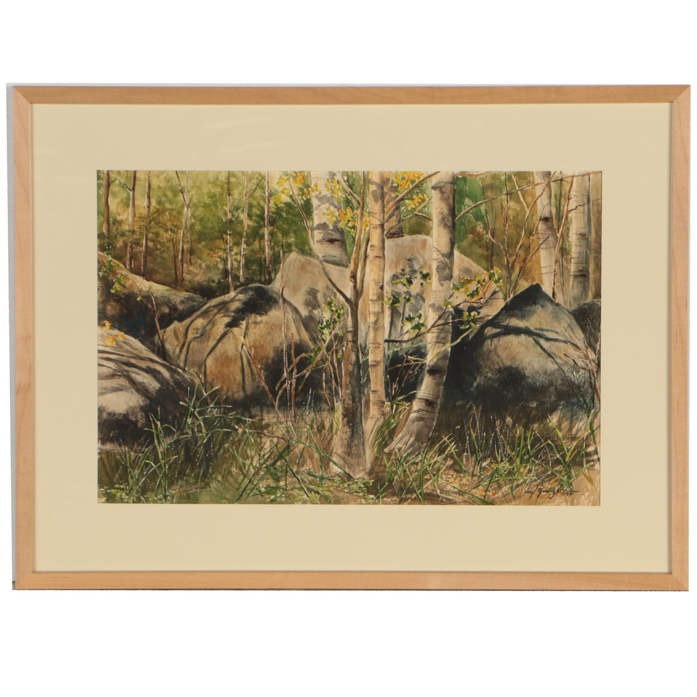 Veryl Goodnight 1971 Gouache and Watercolor Painting of Woodland Landscape