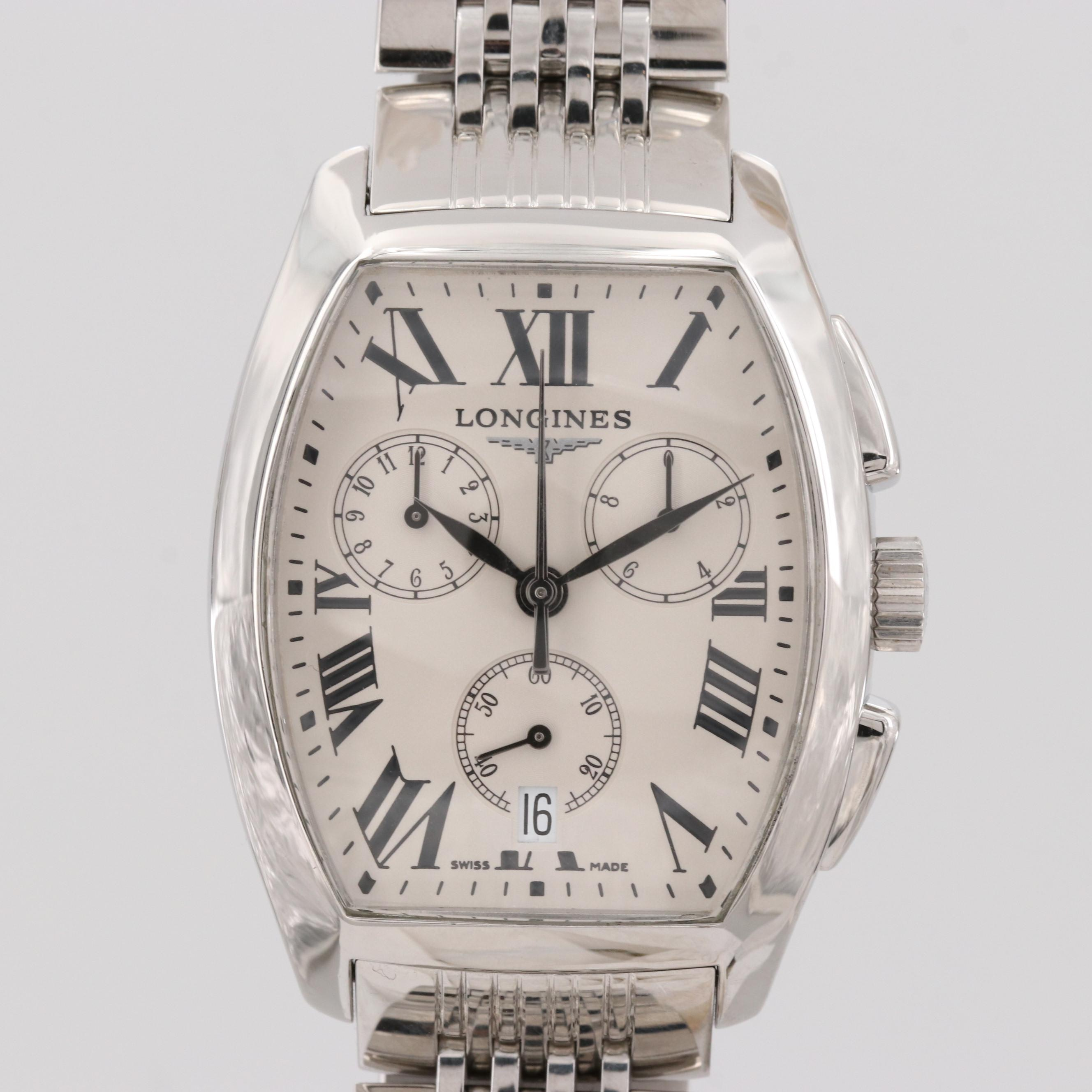 longines Evidenza Stainless Steel Quartz Chronograph Wristwatch