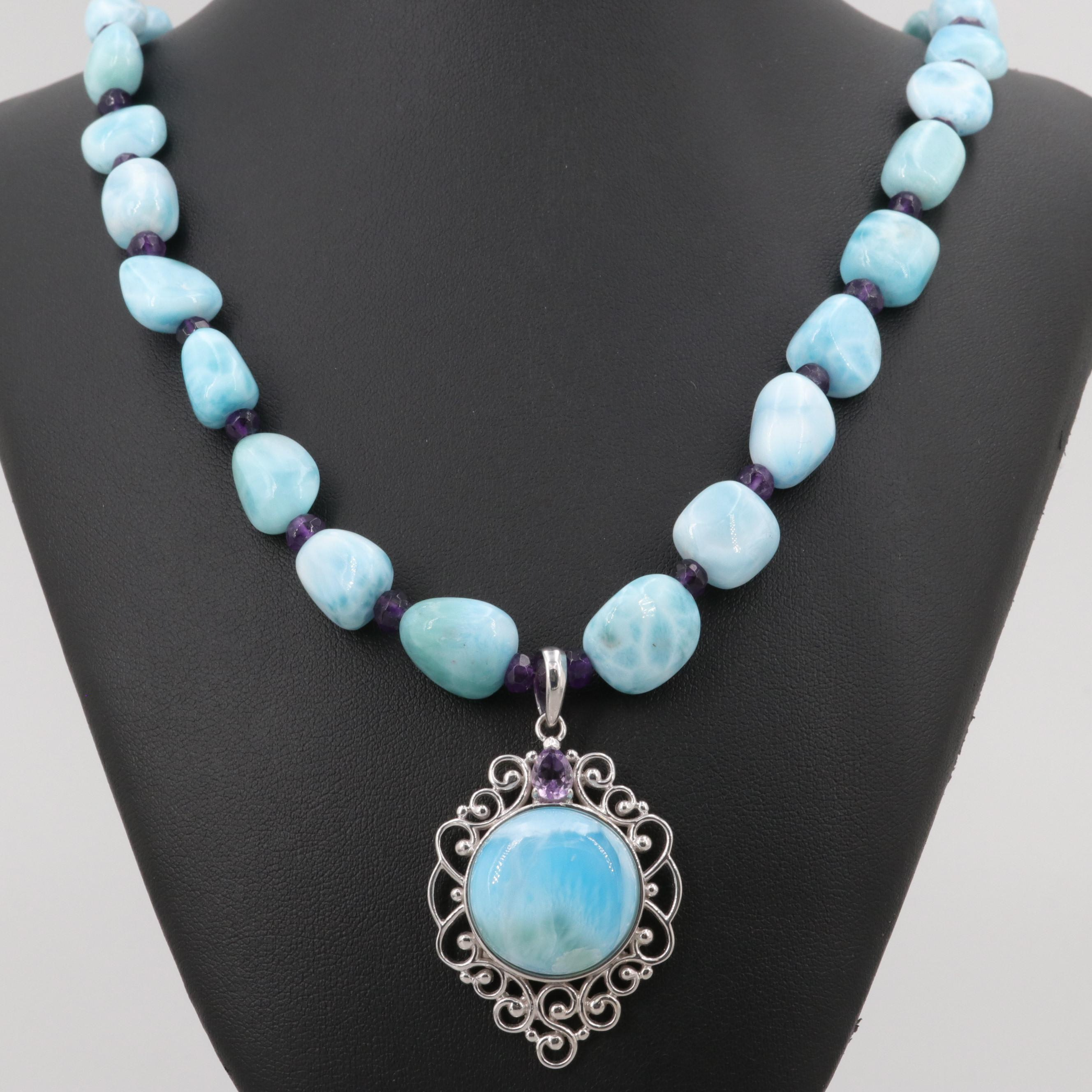 Sterling Silver Larimar and Amethyst Beaded Necklace