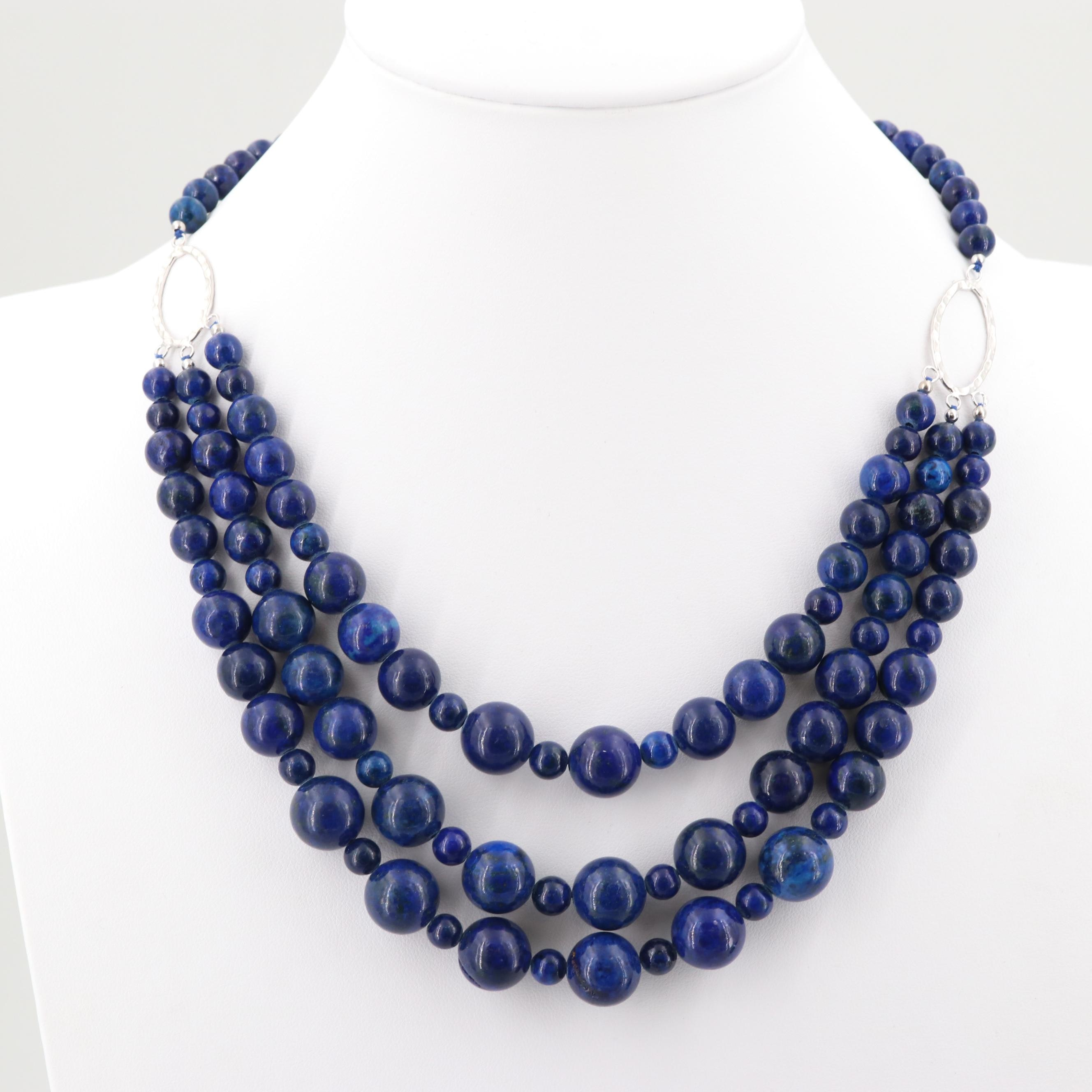 Sterling Silver Dyed Lapis Lazuli Necklace