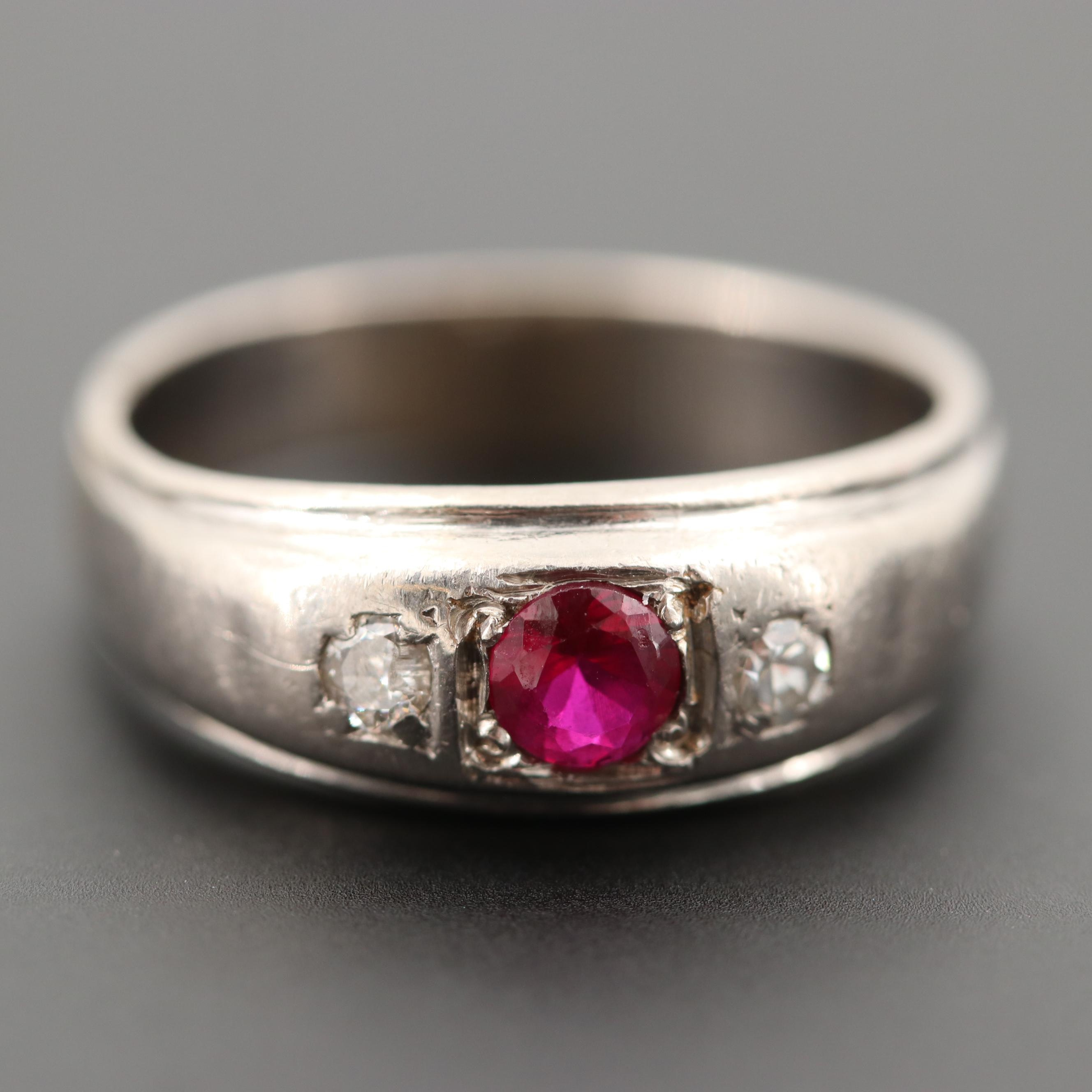 Vintage 10K White Gold Synthetic Ruby and Diamond Ring