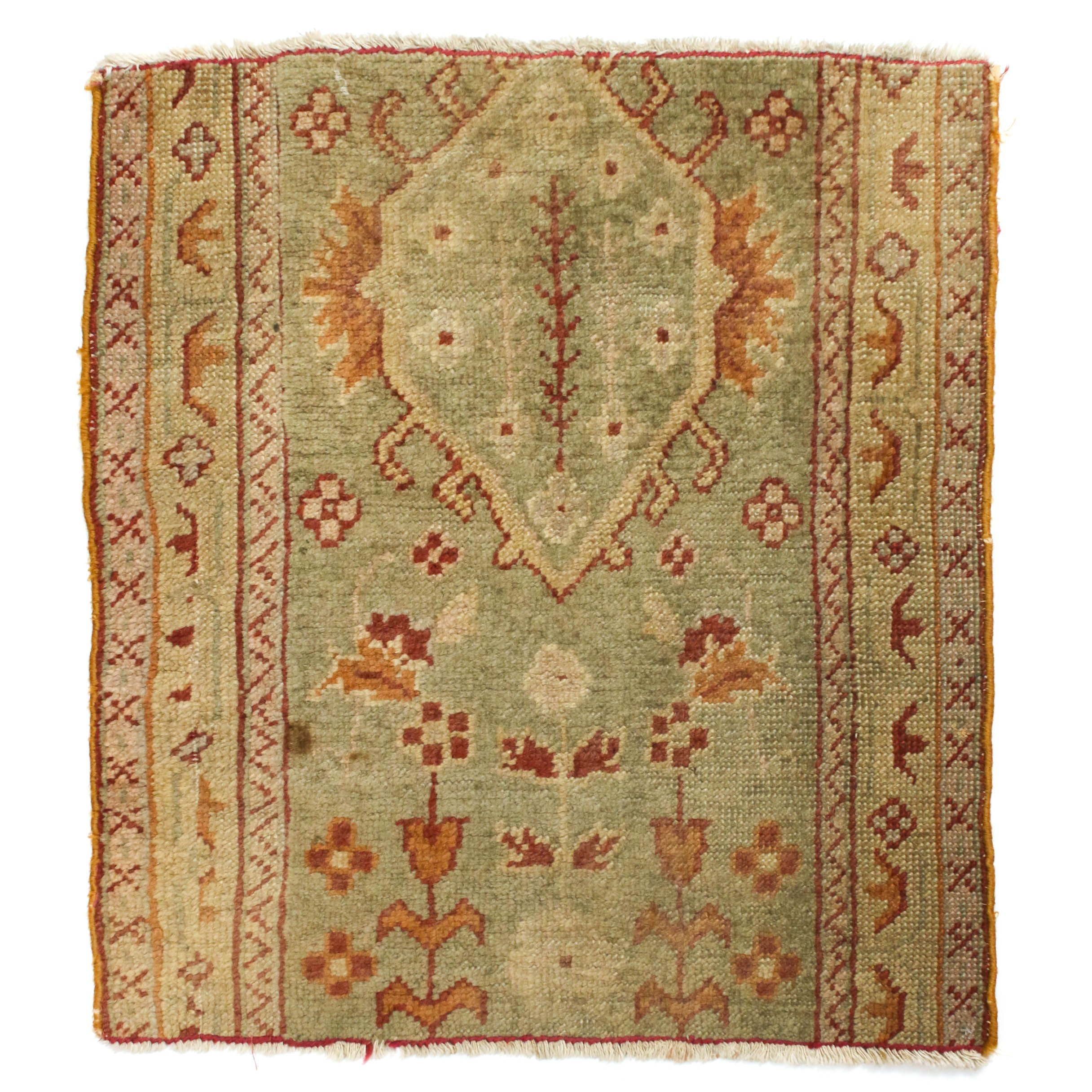 2'1 x 2'5 Hand-Knotted Turkish Oushak Rug Fragment, Circa 1920