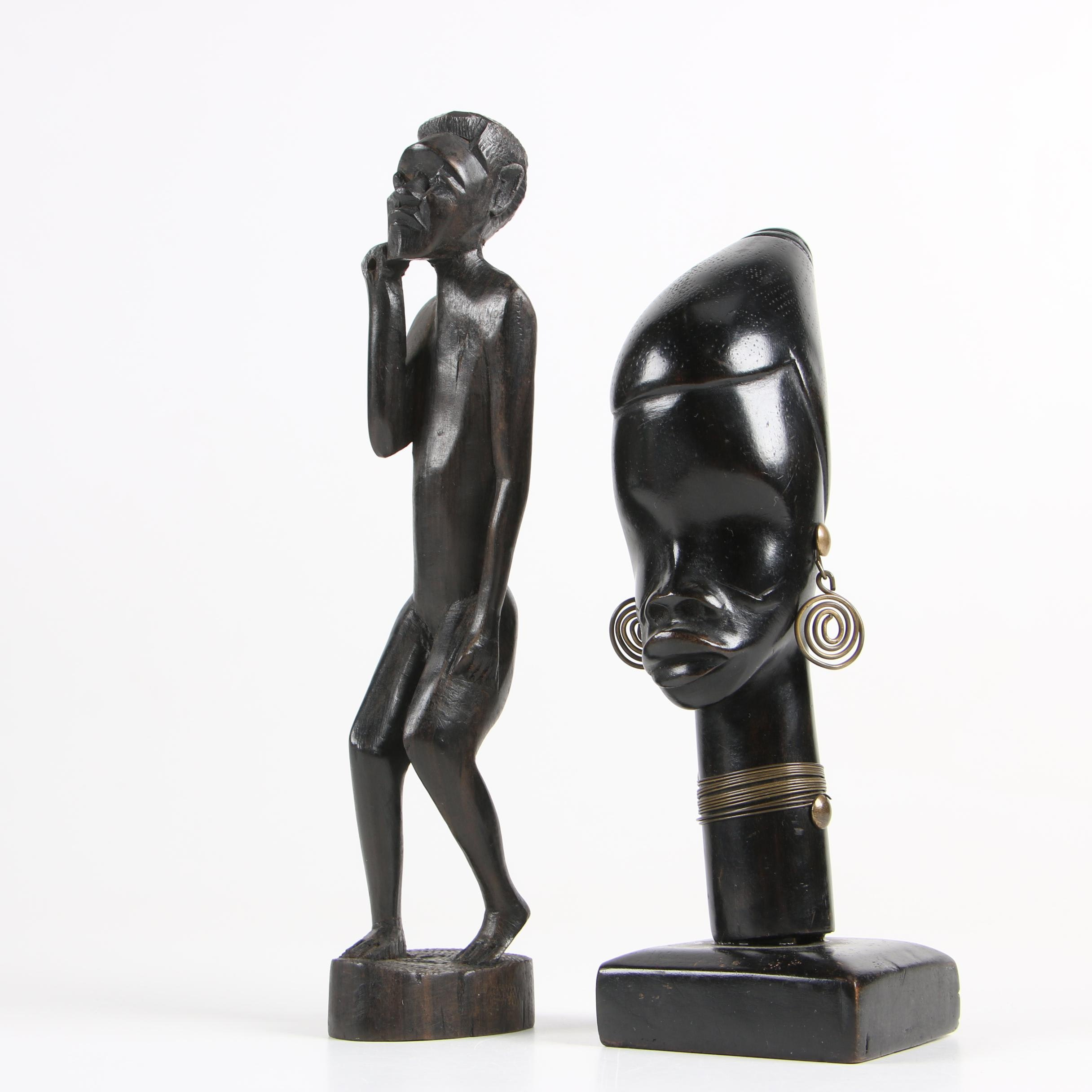 East African Carved Wood Statues