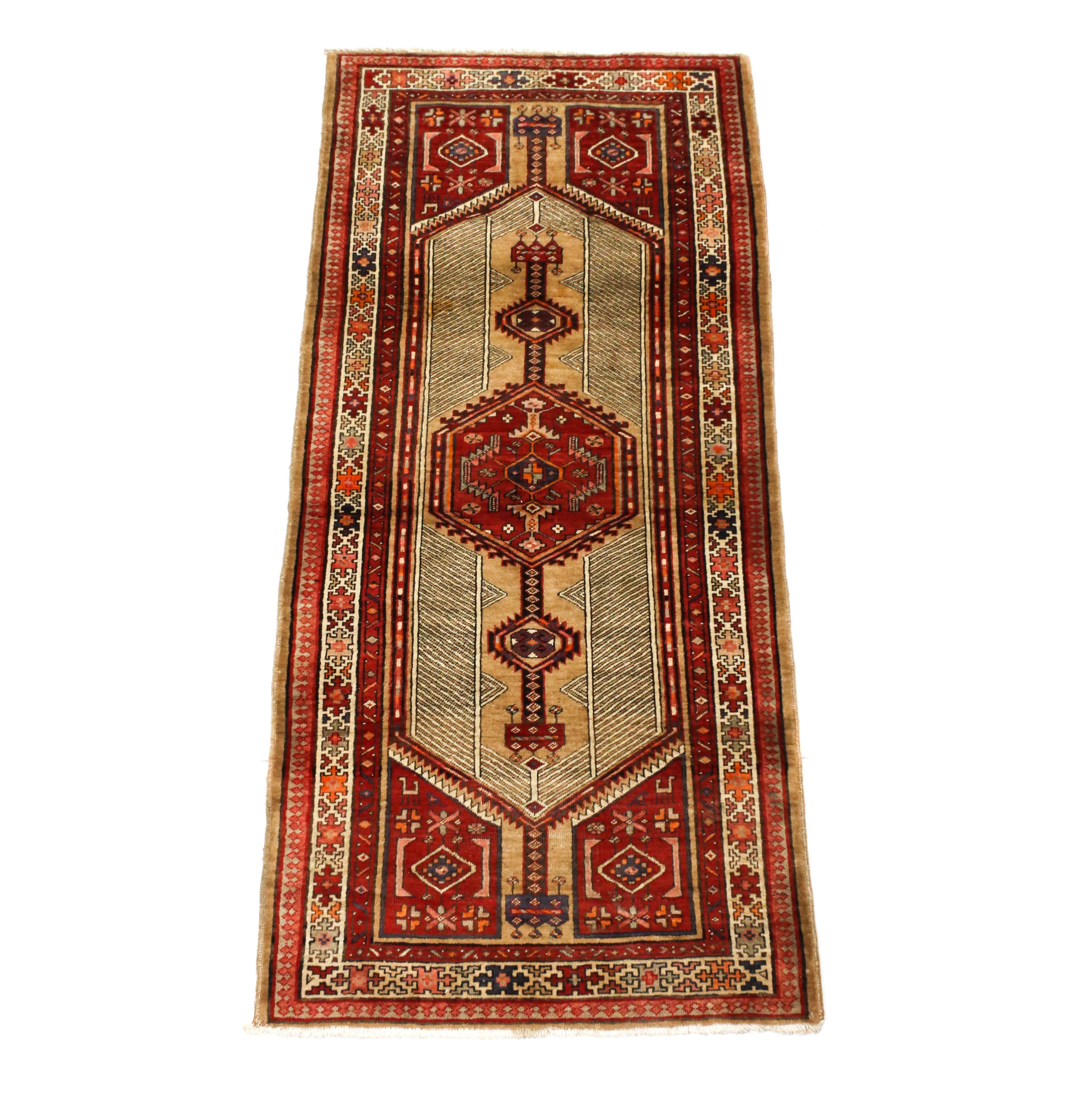 3'3 x 8'4 Hand-Knotted Persian Serab Long Rug, Circa 1930