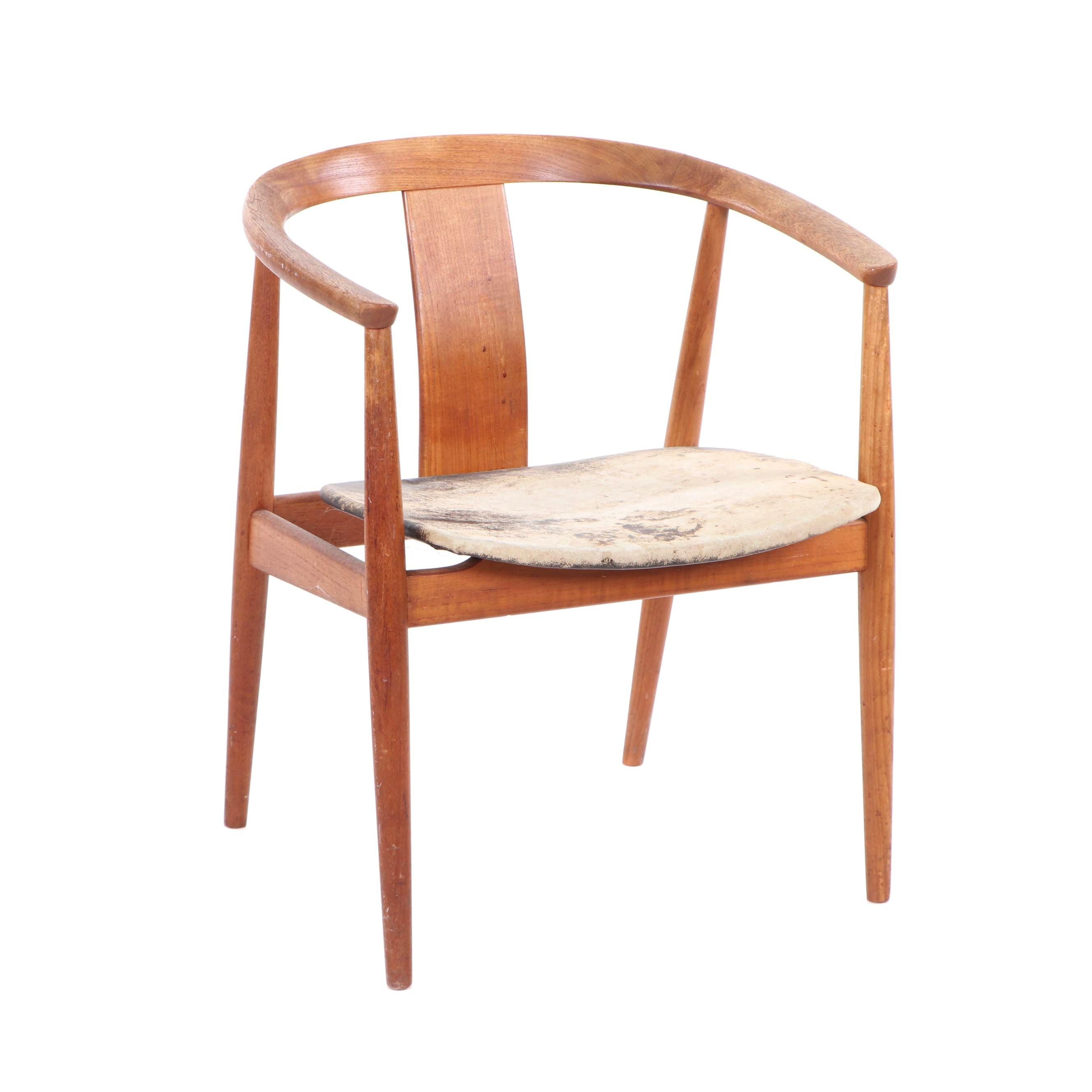 Danish Modern Wishbone Style Teak Armchair, Mid 20th Century