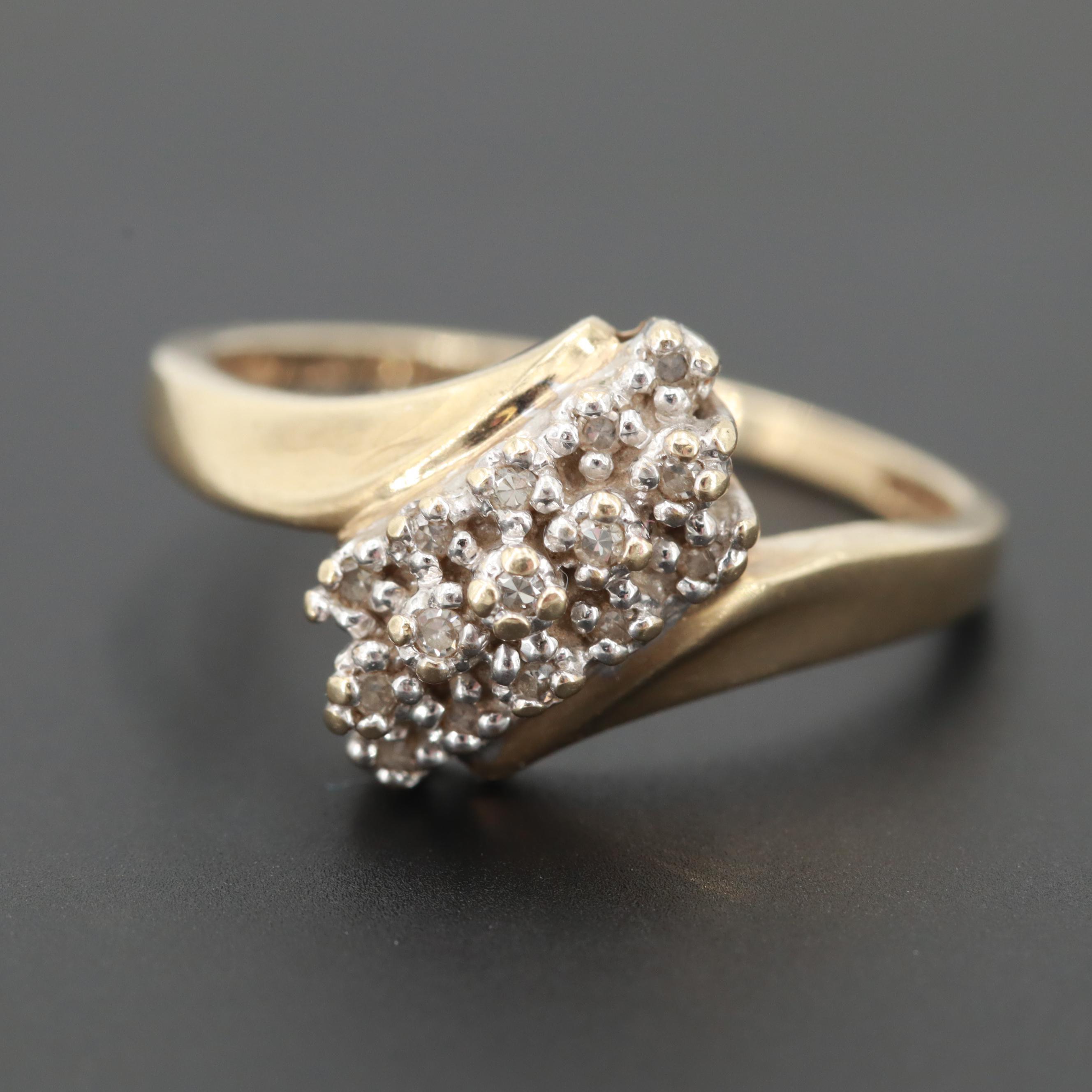 10K Yellow Gold Diamond Bypass Ring