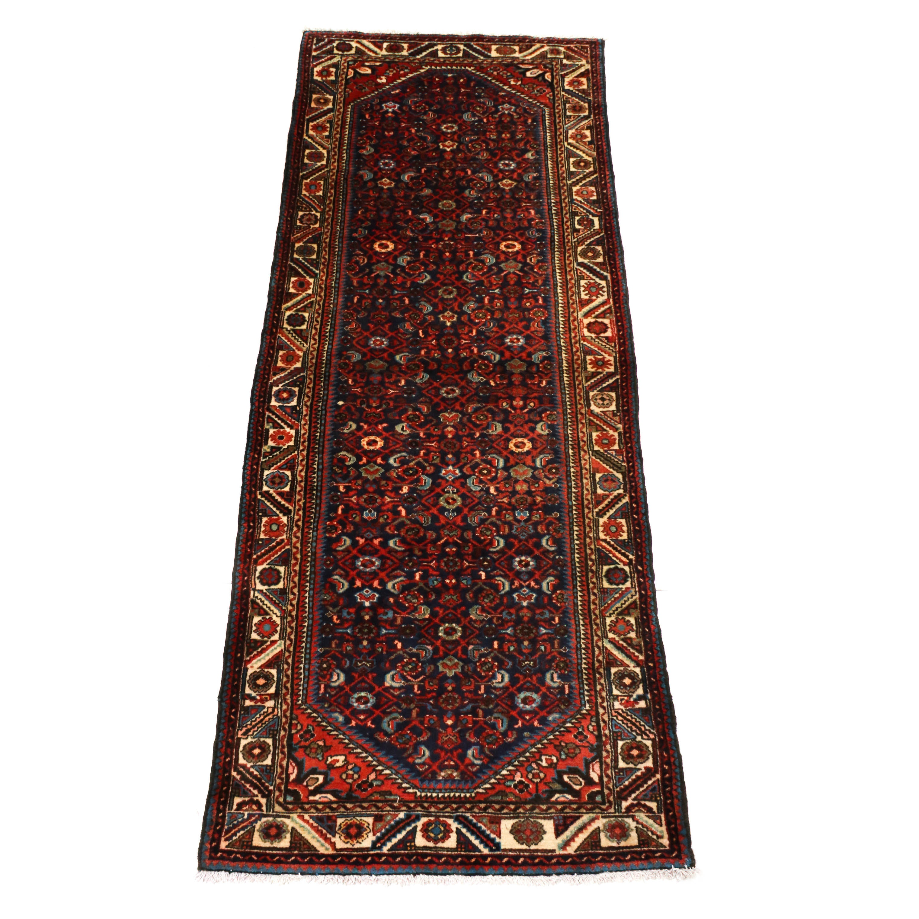 3'7 x 9'6 Hand-Knotted Persian Malayer Wool Carpet Runner, Circa 1930