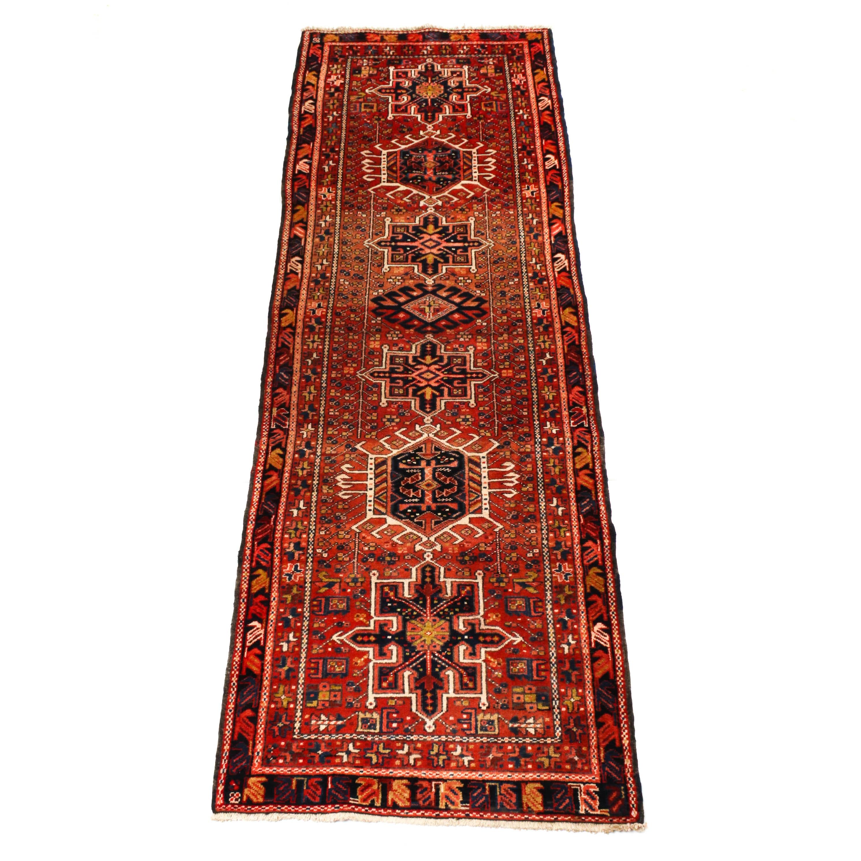 3'6 x 10'8 Hand-Knotted Persian Karaja Long Rug, Circa 1940