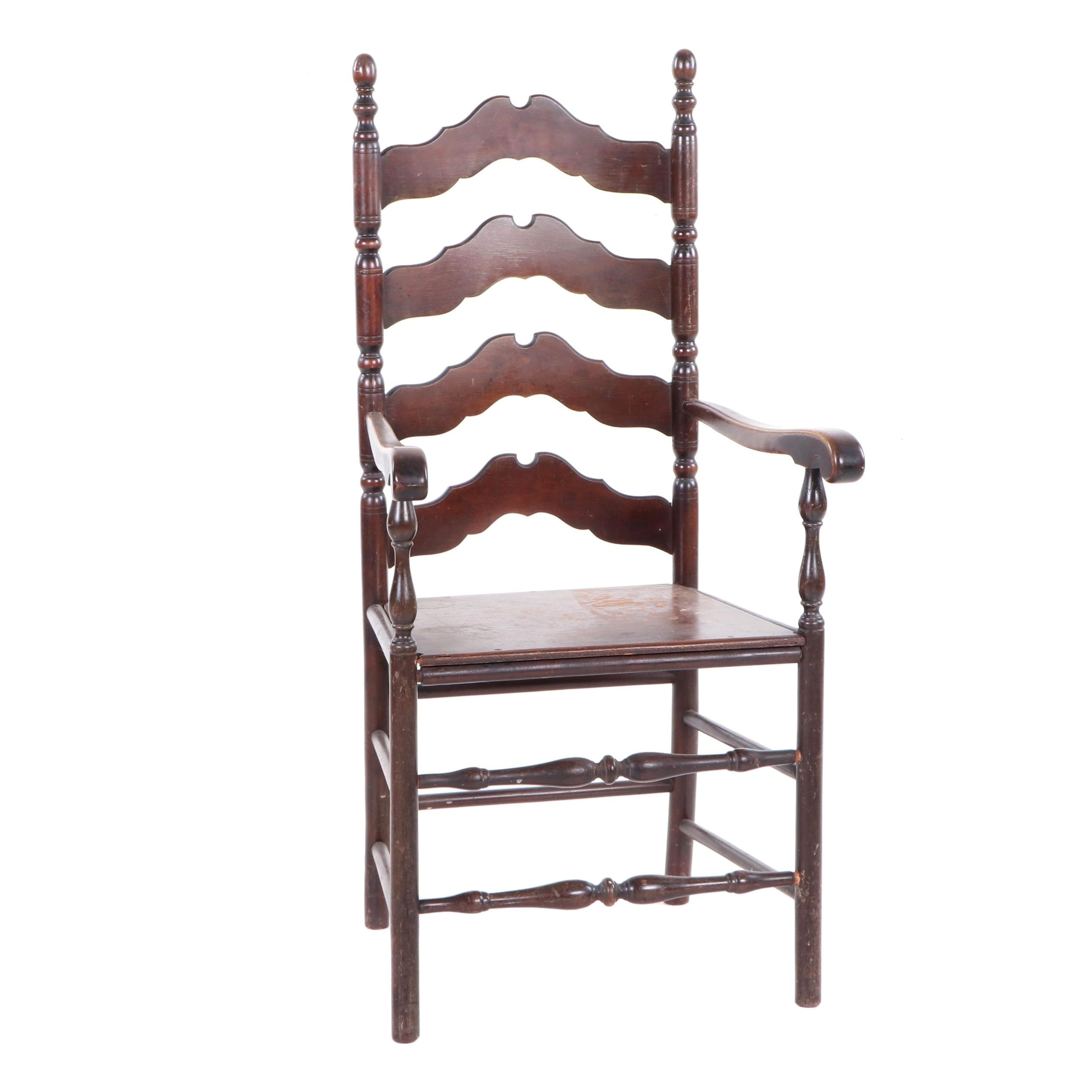Country Style Cherry Ladder Back Armchair