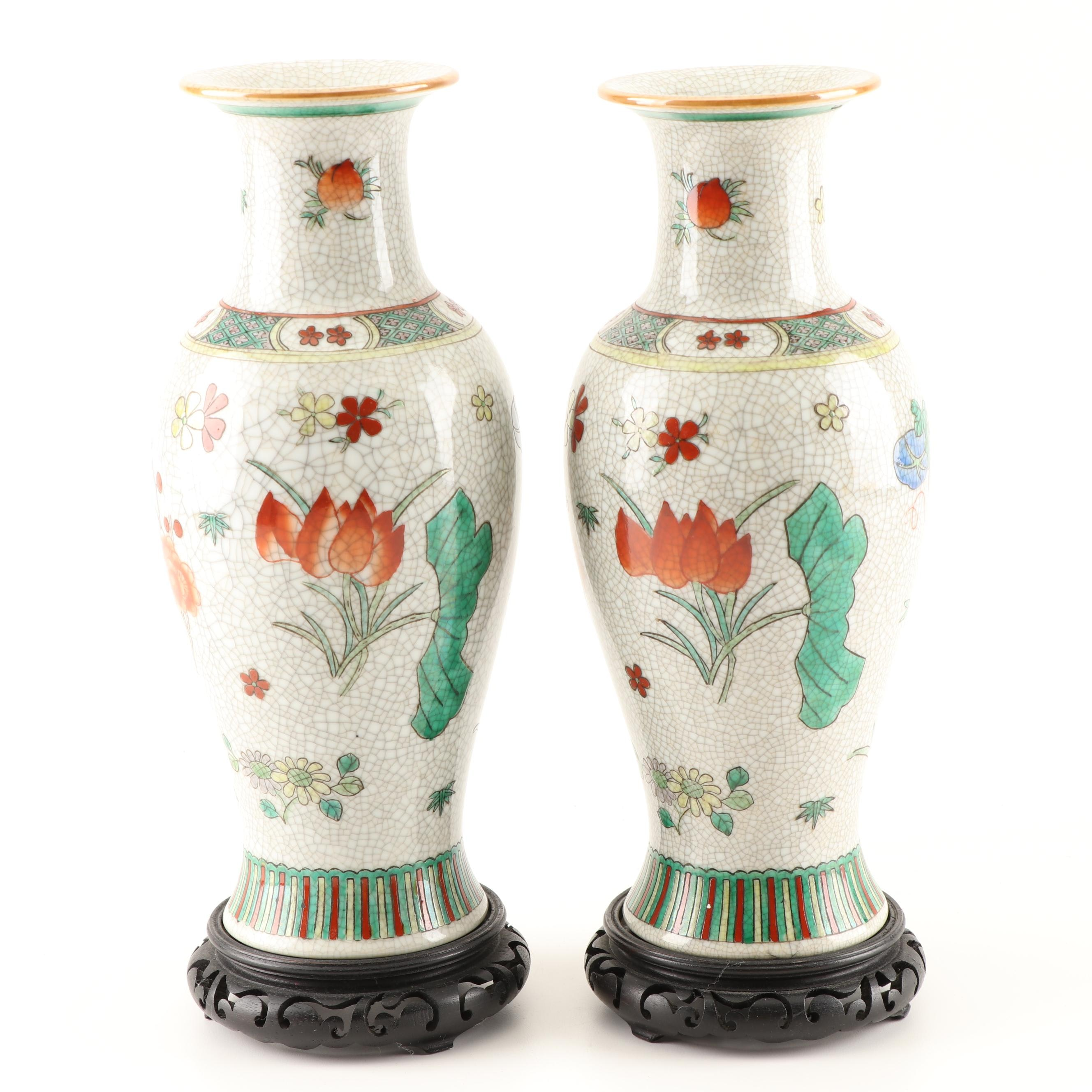 Chinese Craquelure Vases with Stands