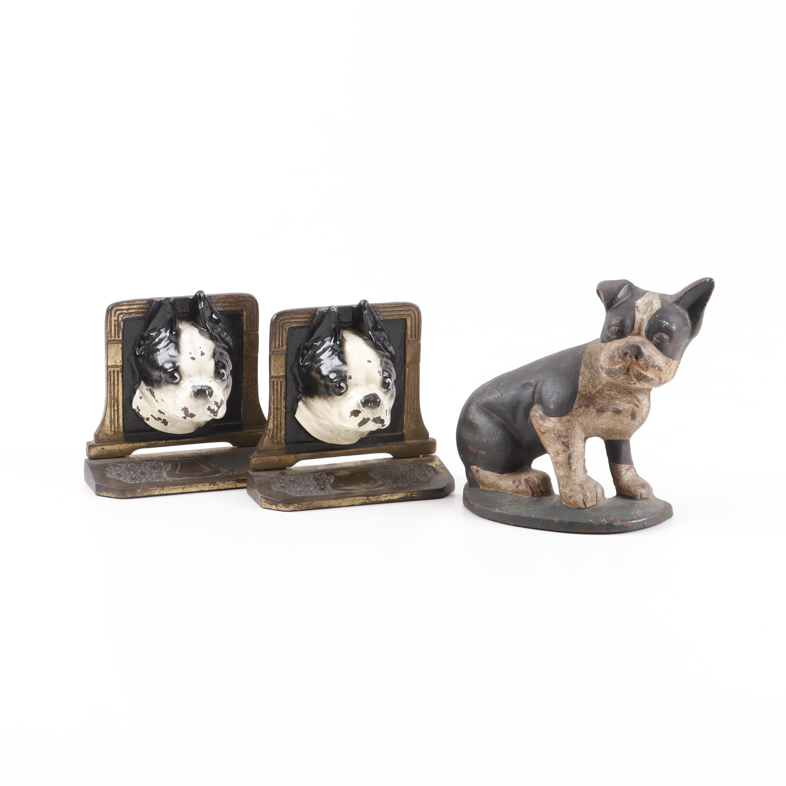 Boston Terrier Dog Cast Brass Bookends and Cast Iron Doorstop, Early 20th Cent.