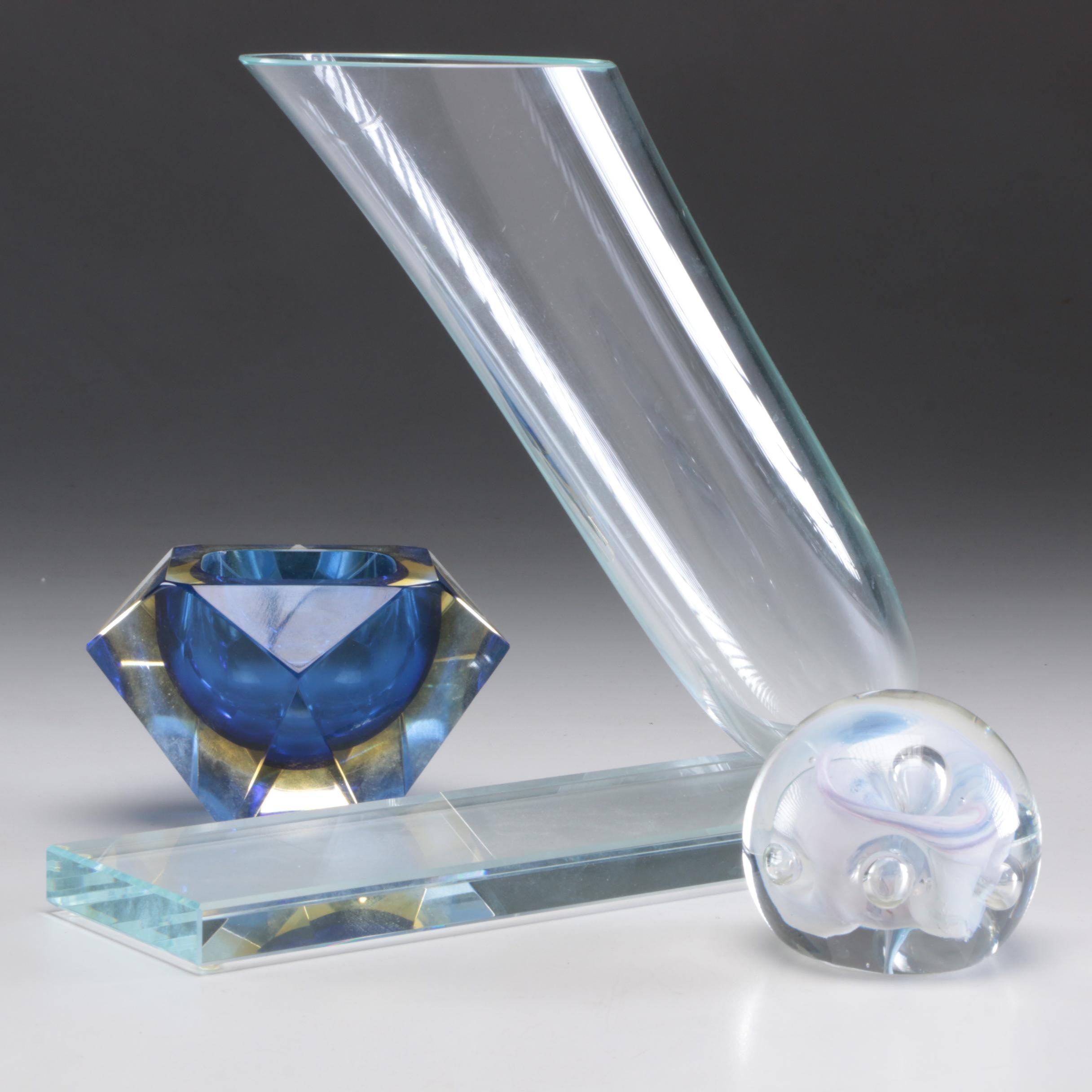 Art Glass Vase, Trinket Bowl, and Paperweight