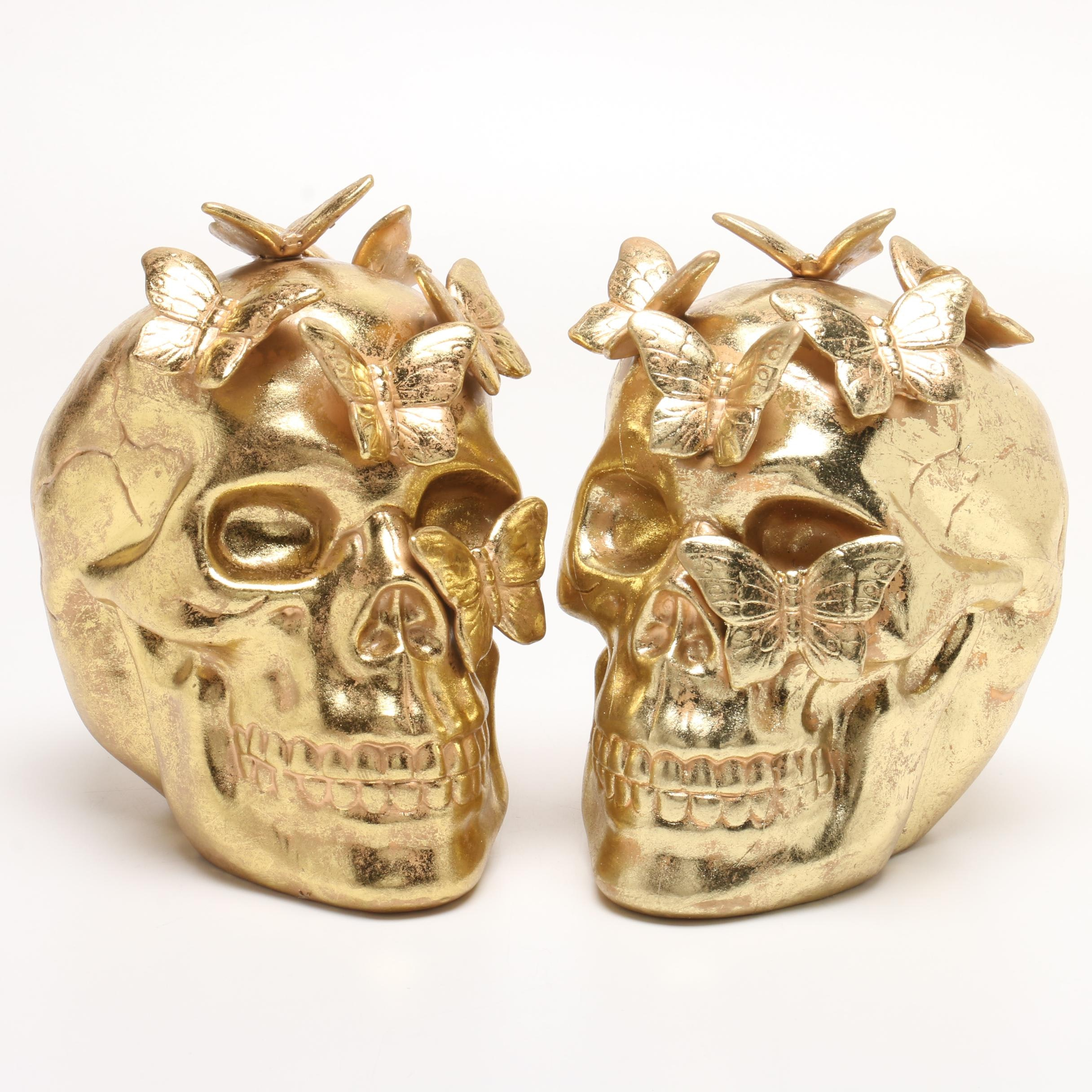 Pair of Ceramic Skull Decorations with Gold Tone Glitter Finish
