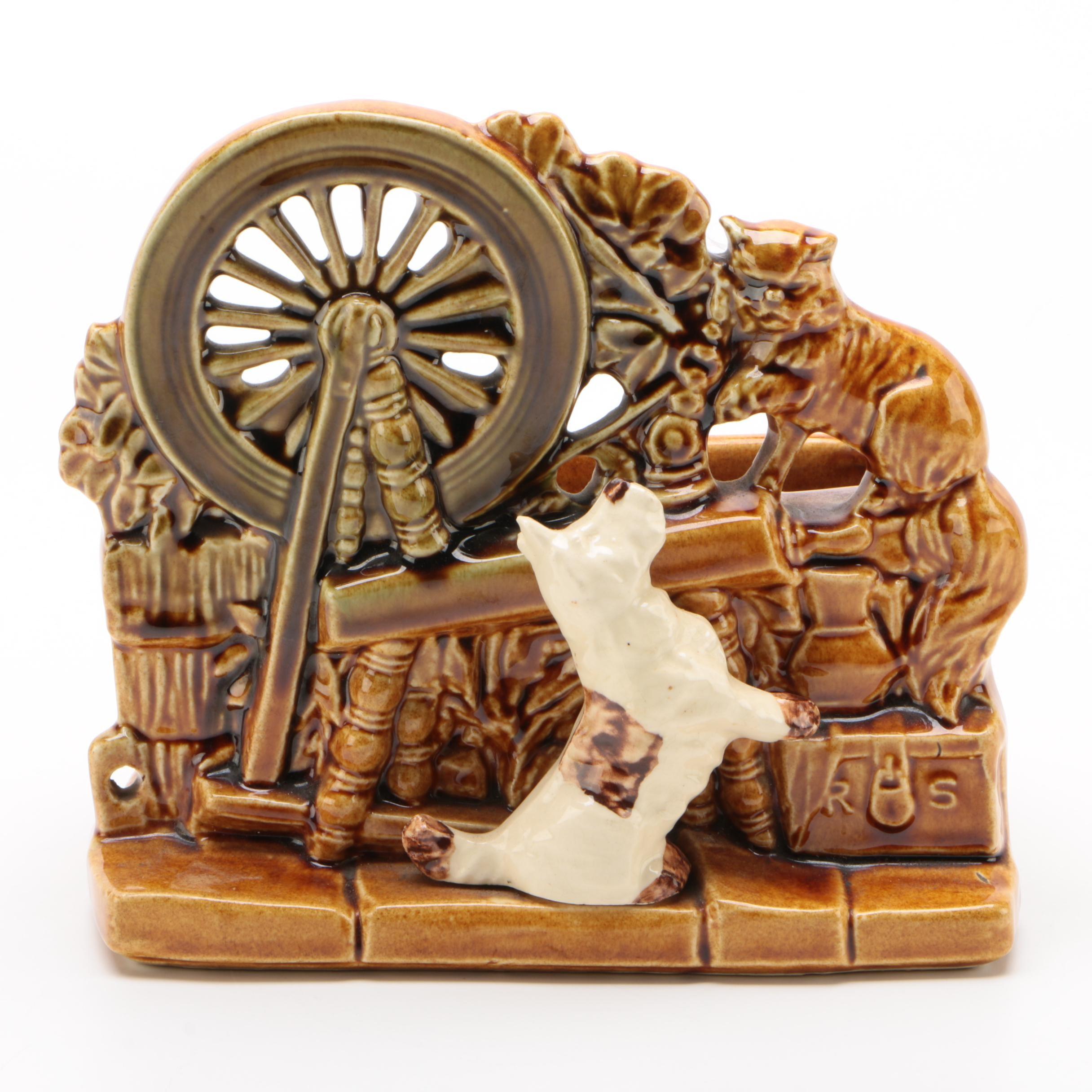 McCoy Pottery Spinning Wheel Planter, Mid-Century