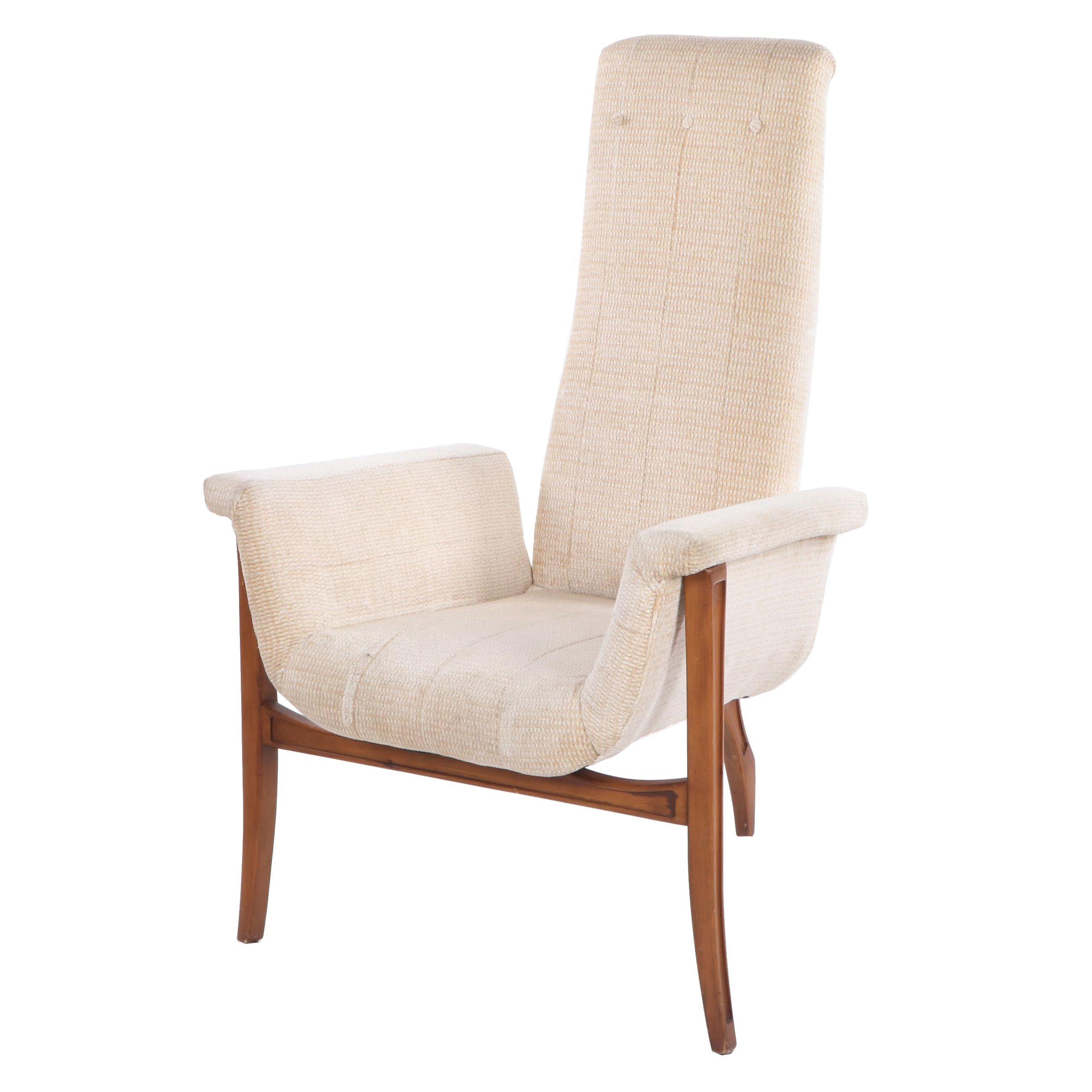 Mid Century Modern Walnut High Back Arm Chair, Mid 20th Century