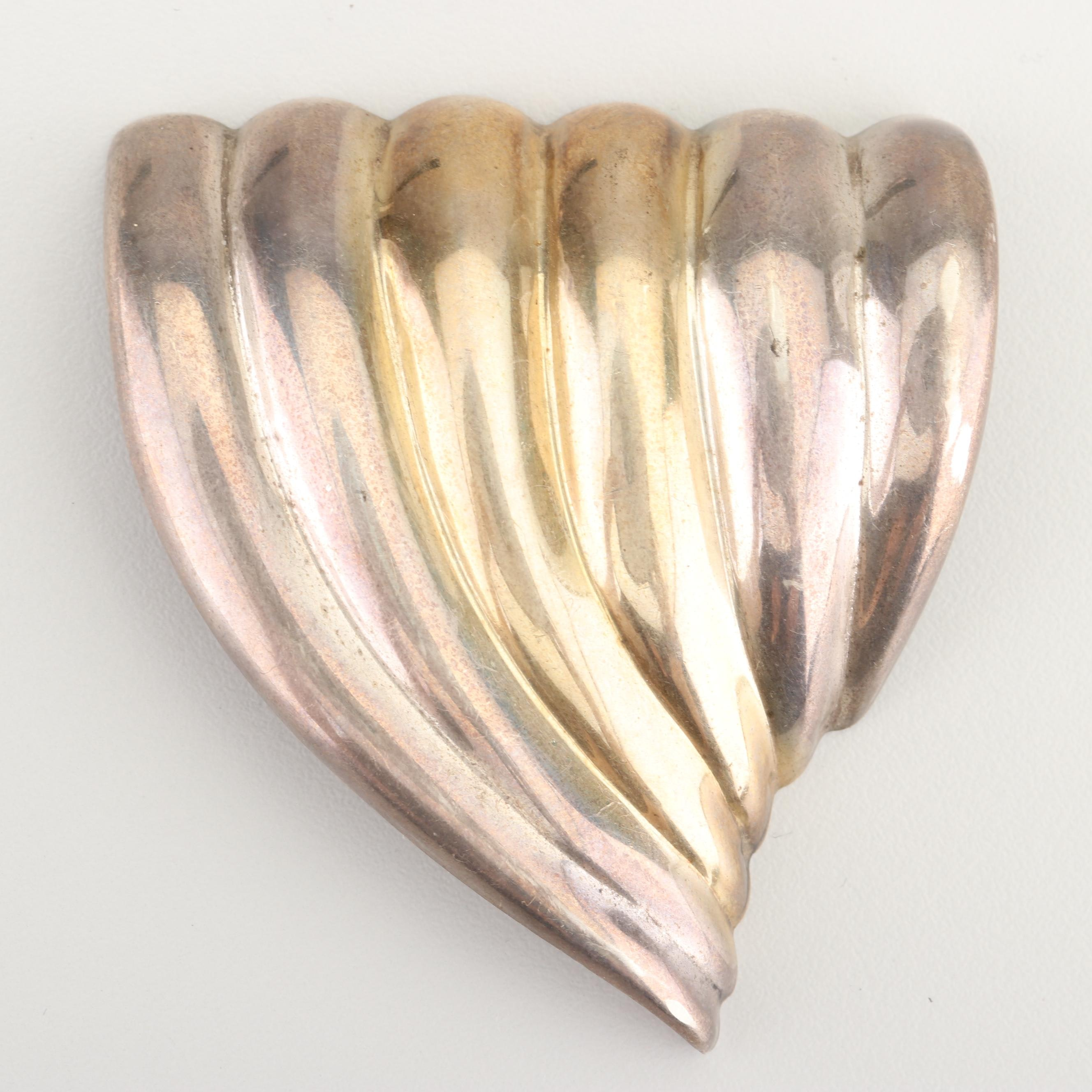 Gold Wash Accented Sterling Silver Brooch