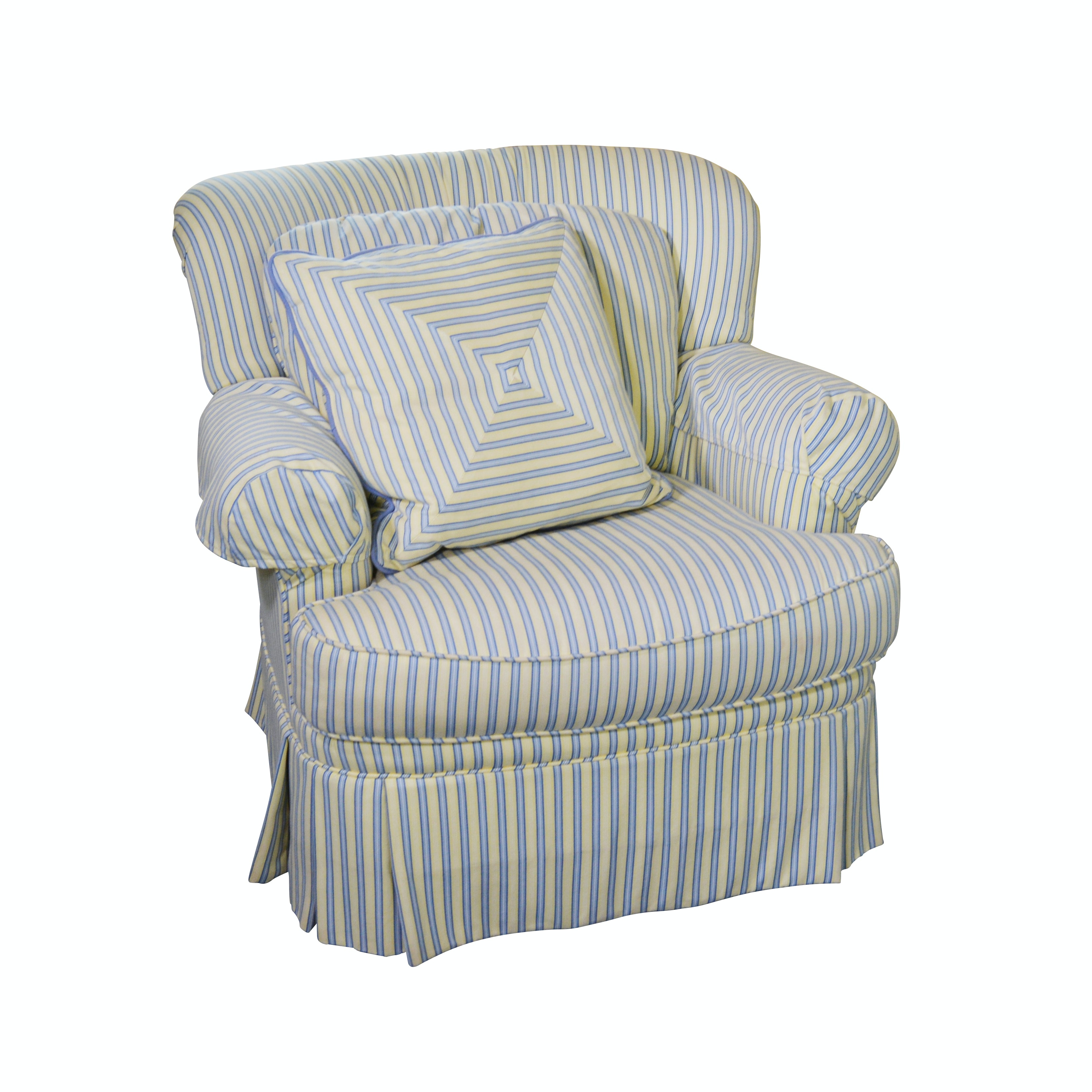 Pearson Striped Upholstered Swivel Chair, Contemporary