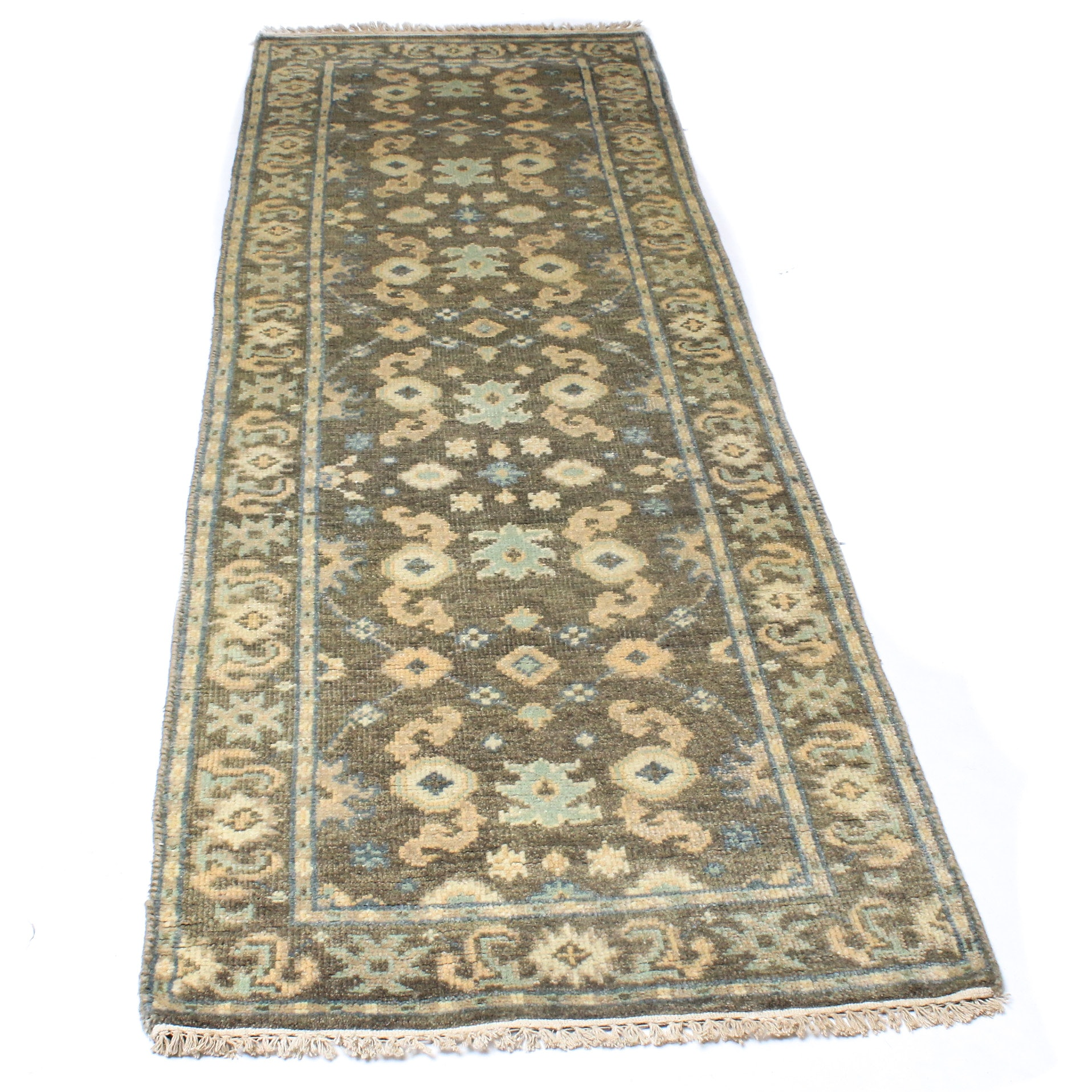 Hand-Knotted Indo-Turkish Oushak Carpet Runner
