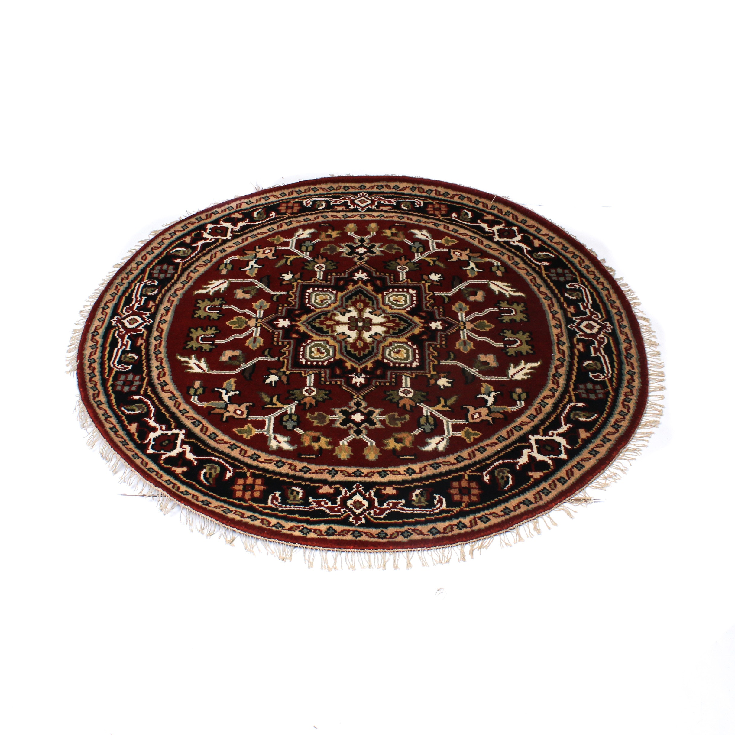 Hand-Knotted Indo-Persian Heriz Round Rug