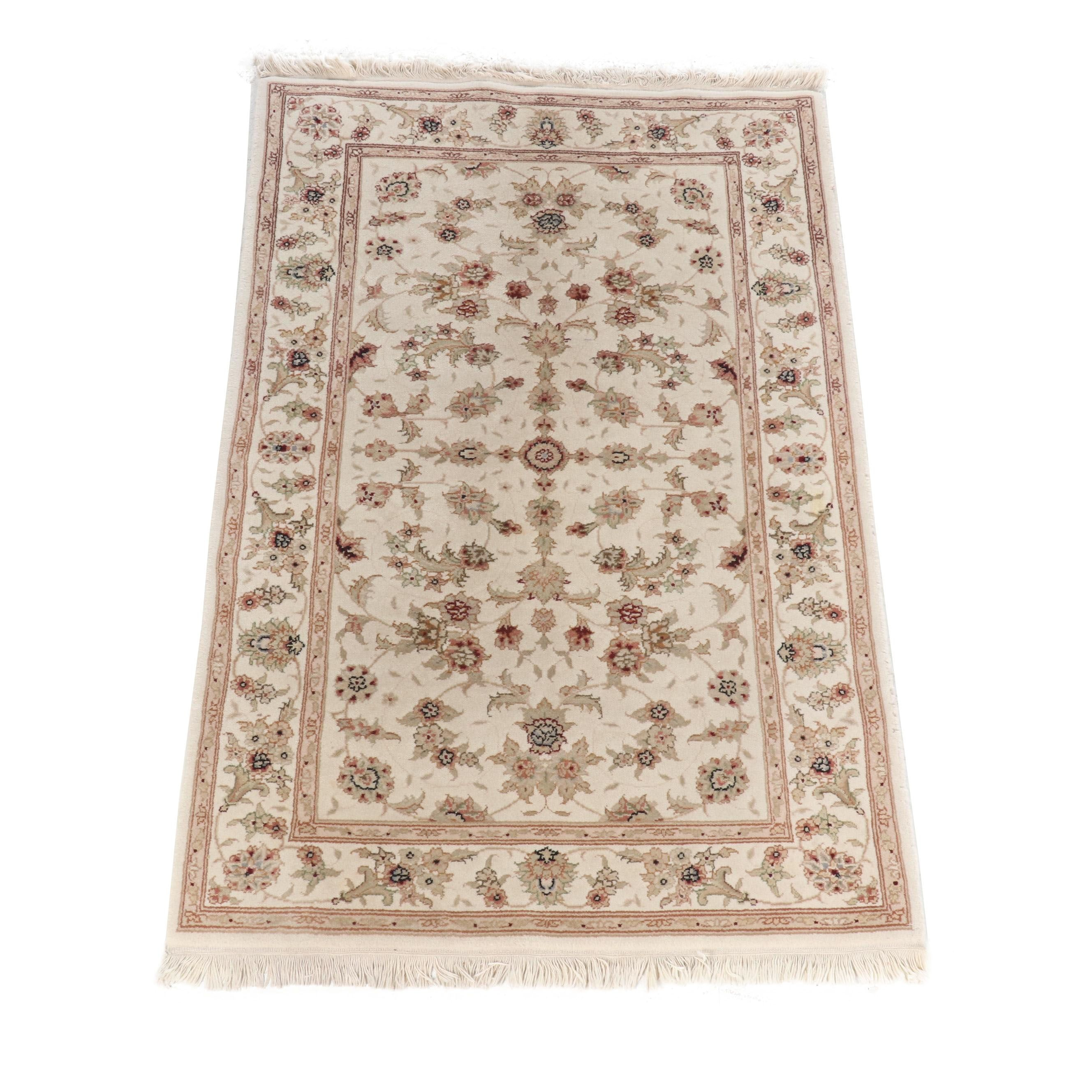 Hand-Knotted Pakistani Kashan Wool Rug
